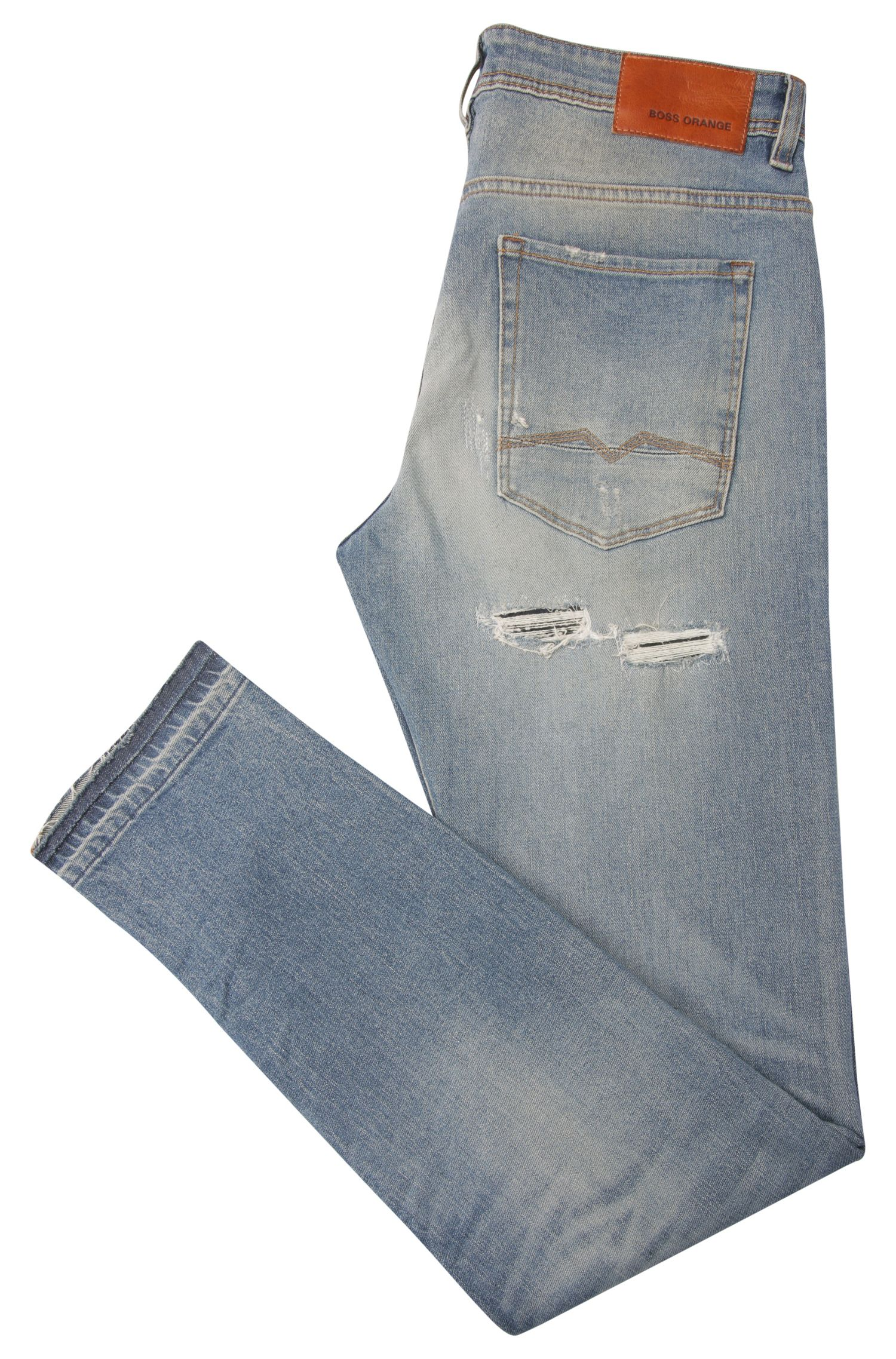 Jeans destroy Tapered Fit en coton stretch : « Orange90 »