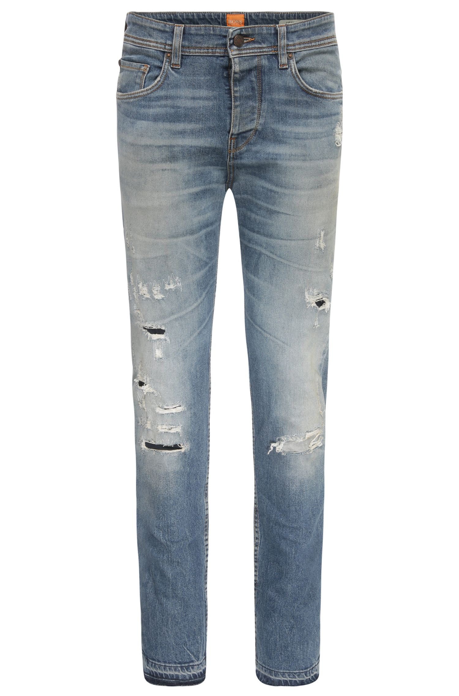 Tapered-fit destroyed jeans van stretchkatoen: 'Orange90'