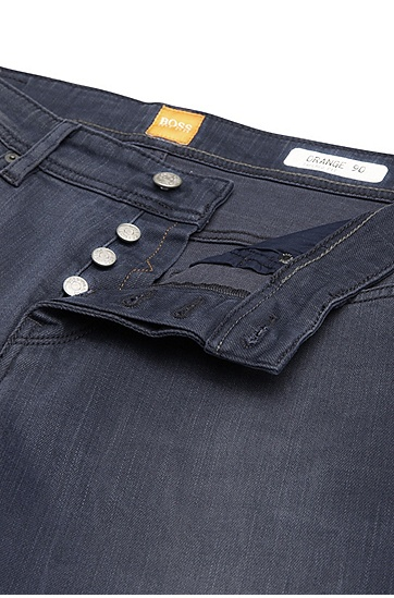 Tapered-Fit Jeans aus elastischem Baumwoll-Mix: ´Orange90`, Dunkelblau