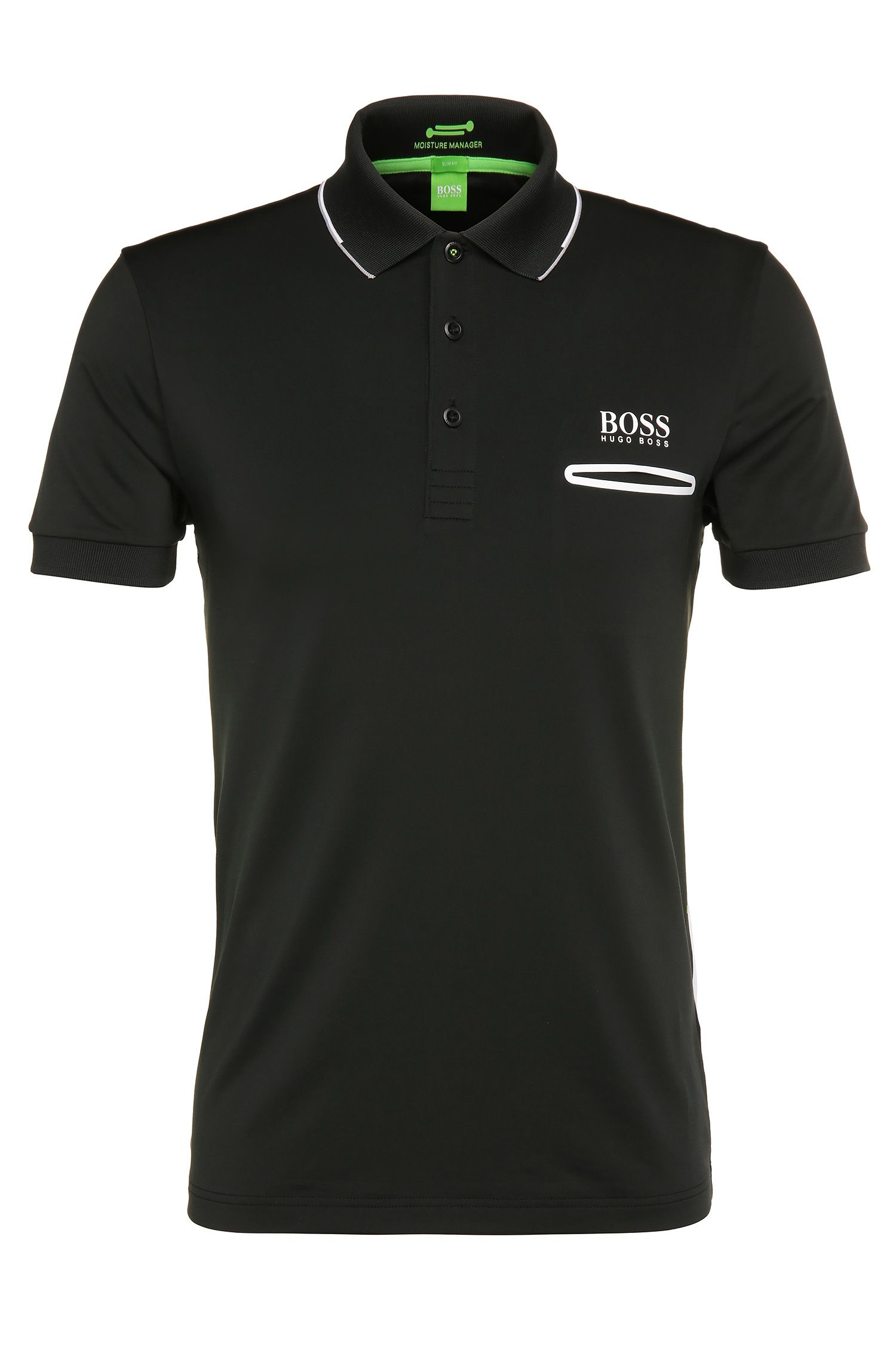 Functional slim-fit polo shirt in stretchy material blend: 'Paule Pro 1'
