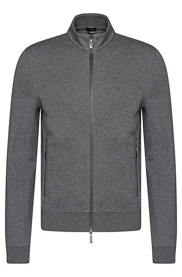 Melierte Slim-Fit Sweatshirt-Jacke aus Baumwoll-Mix: 'Soule 06', Grau