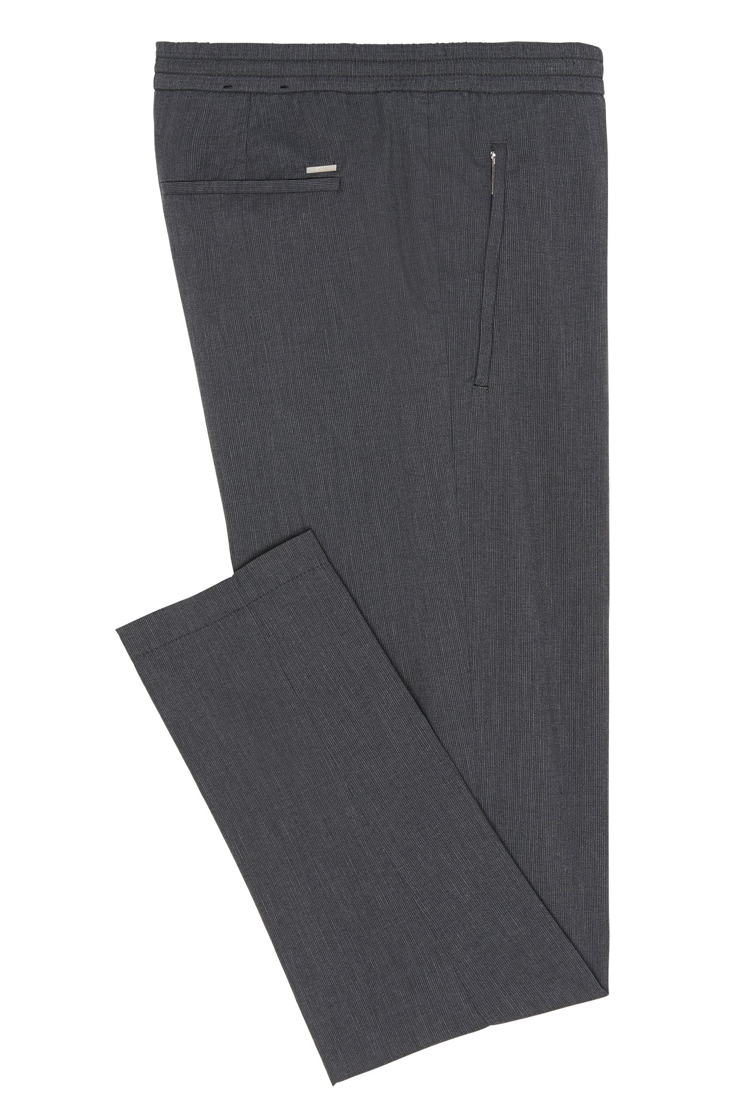 Pantalon Slim Fit en coton mélangé avec taille élastique: «Kito-Drawstring-W»