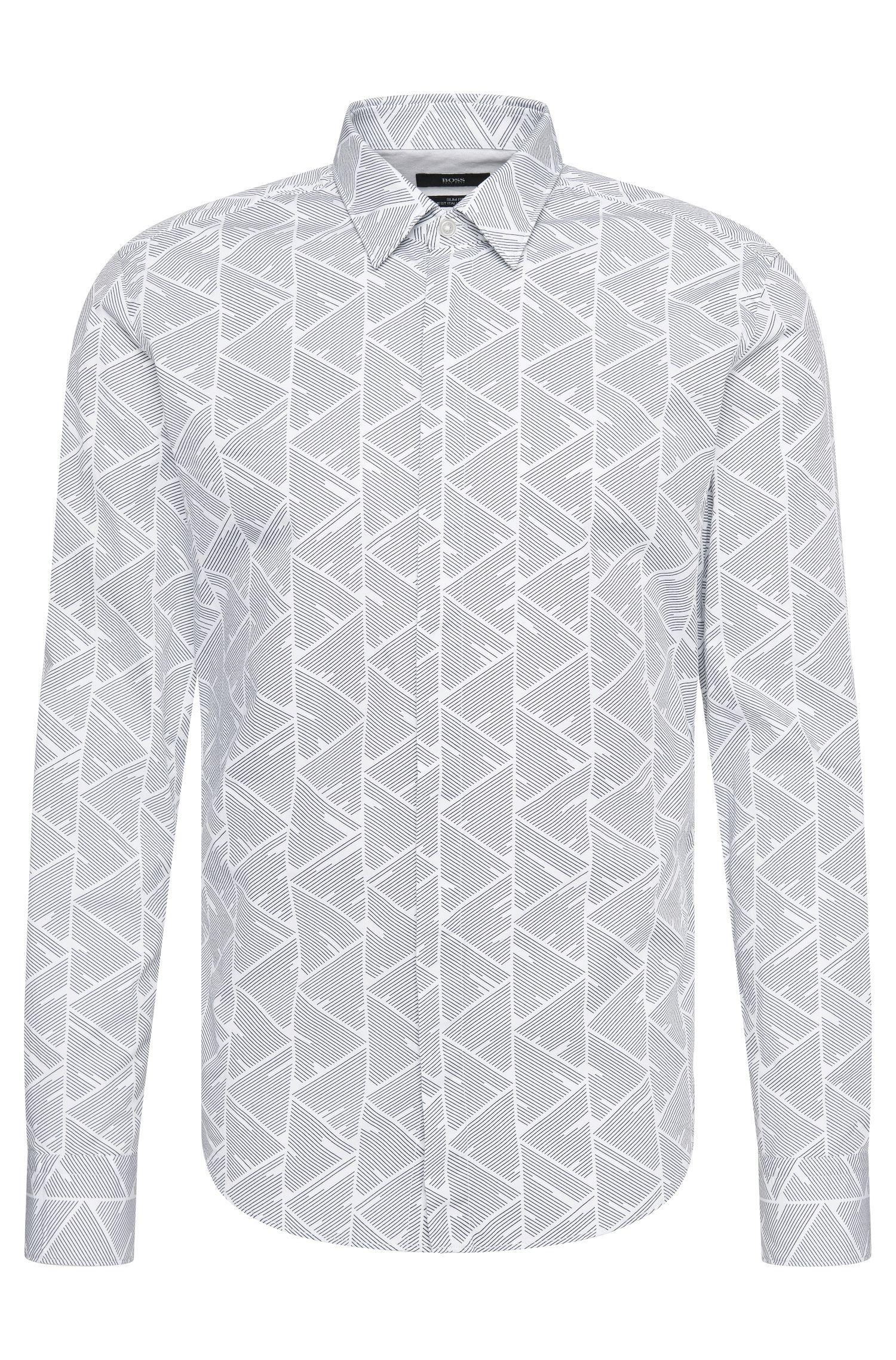 Gemustertes Slim-Fit Hemd aus Baumwolle: 'Reid_44H'