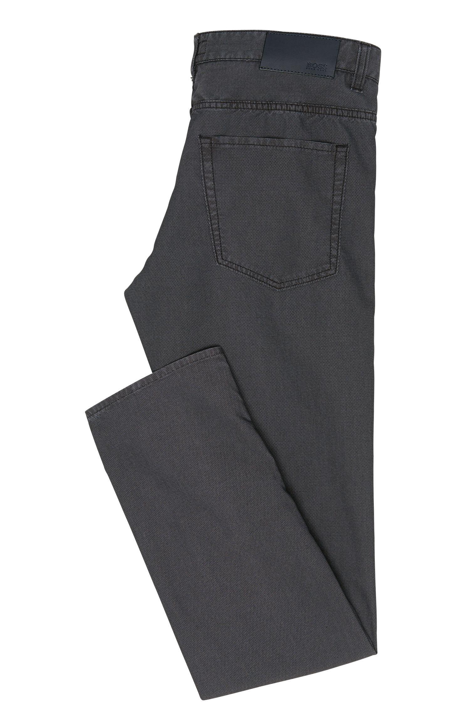Fijngestructureerde slim-fit broek van een elastische katoenmix: 'Delaware3-20'
