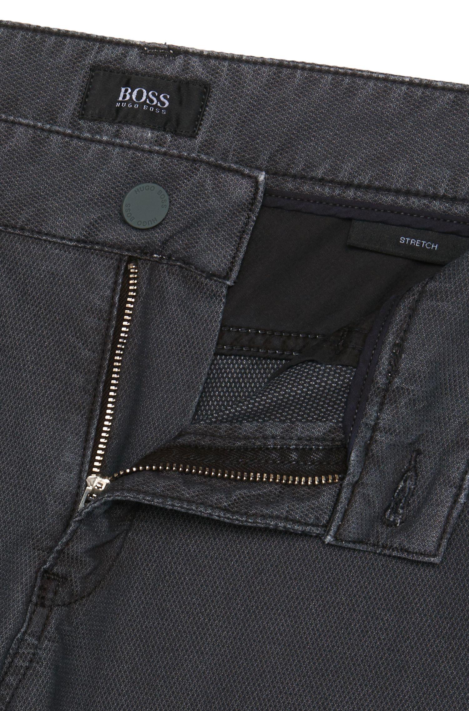 Pantalon Slim Fit finement structuré en coton mélangé extensible: «Delaware3-20»