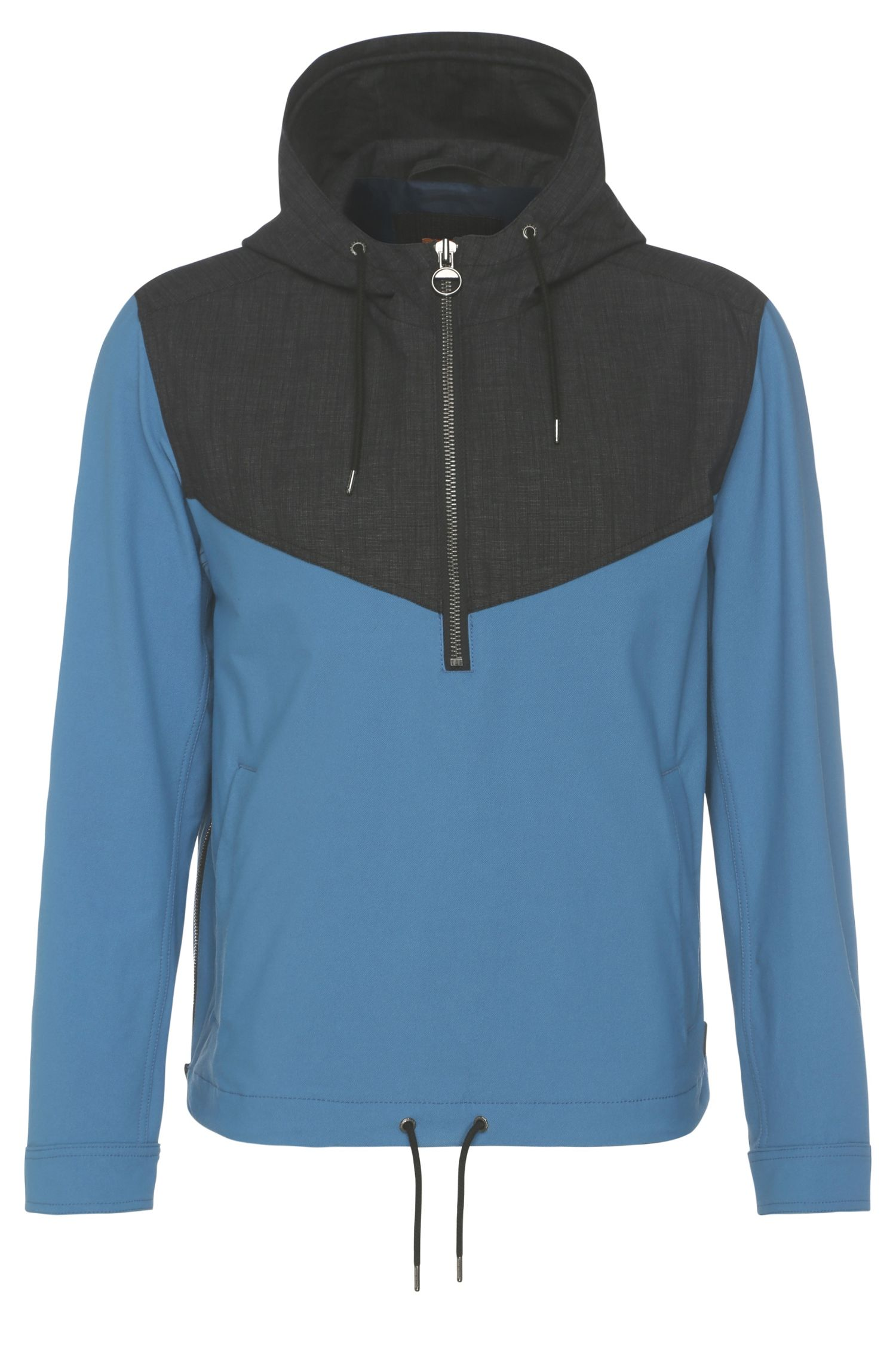 2-tone hoodie jacket in stretch fabric: 'Odet'