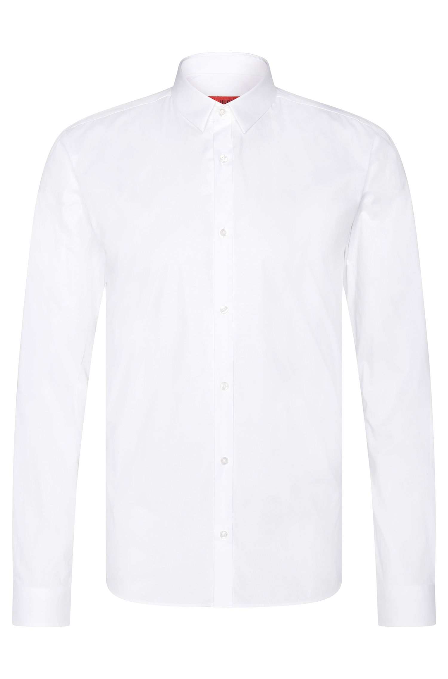 Plain slim-fit shirt in stretch cotton: 'Ero3'