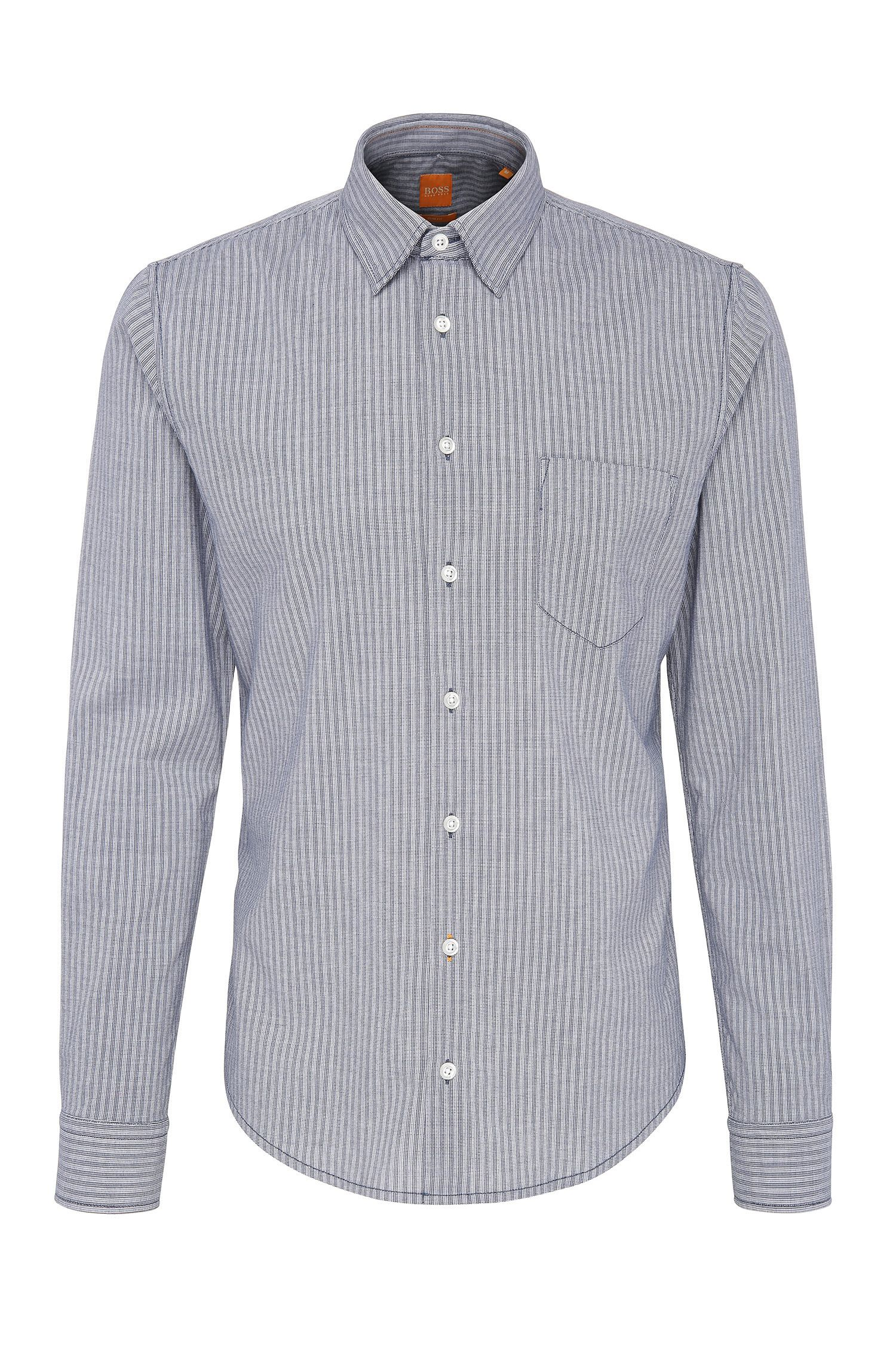Slim-fit shirt in striped cotton: 'EnameE_1'