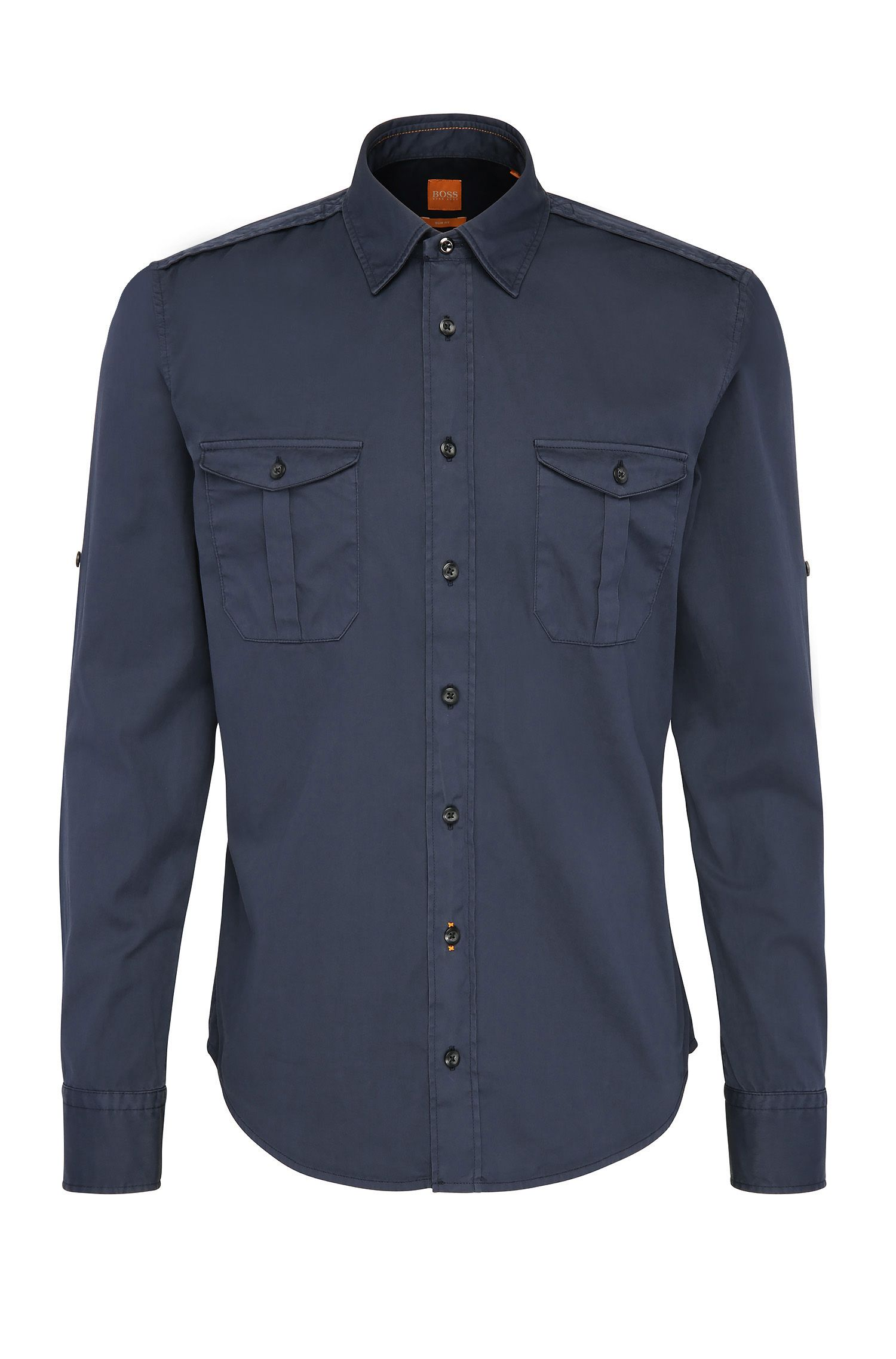 Slim-fit worker's shirt in cotton: 'CadettoE'
