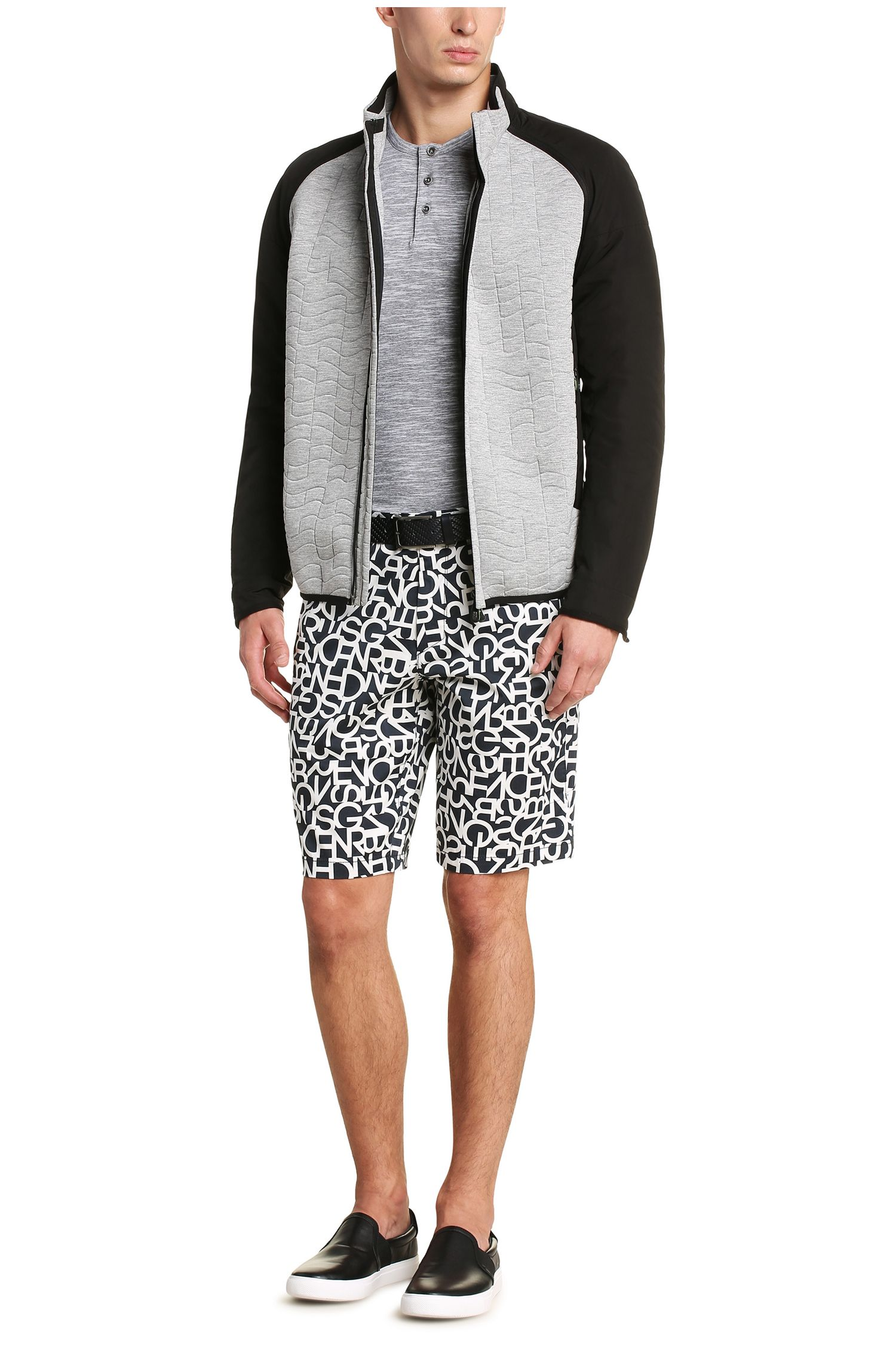 Meliertes Slim-Fit Langarmshirt aus Baumwoll-Mix: ´C-Veneto`