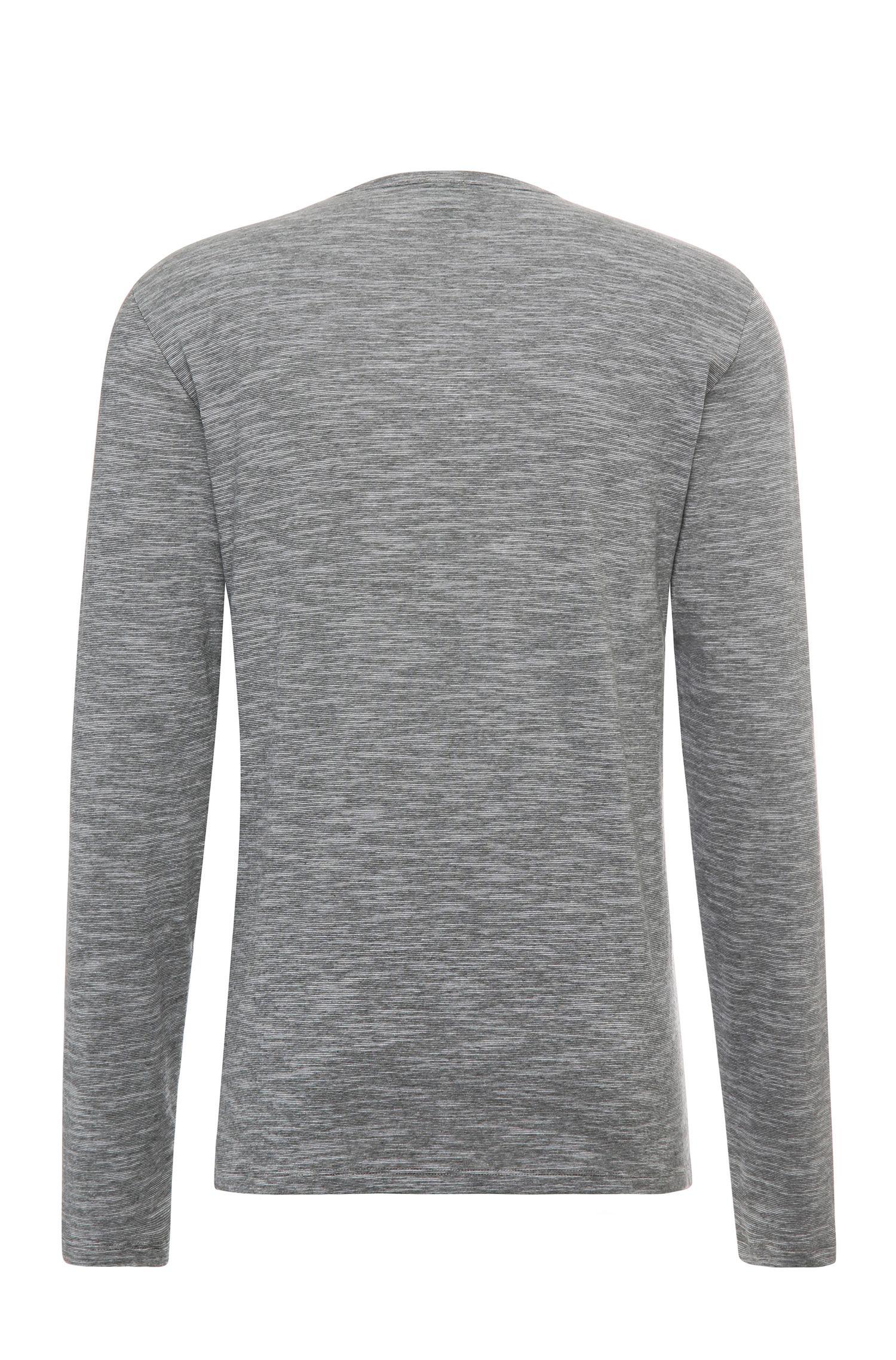 Gemêleerd slim-fit shirt van een katoenmix met lange mouwen: 'C-Veneto'
