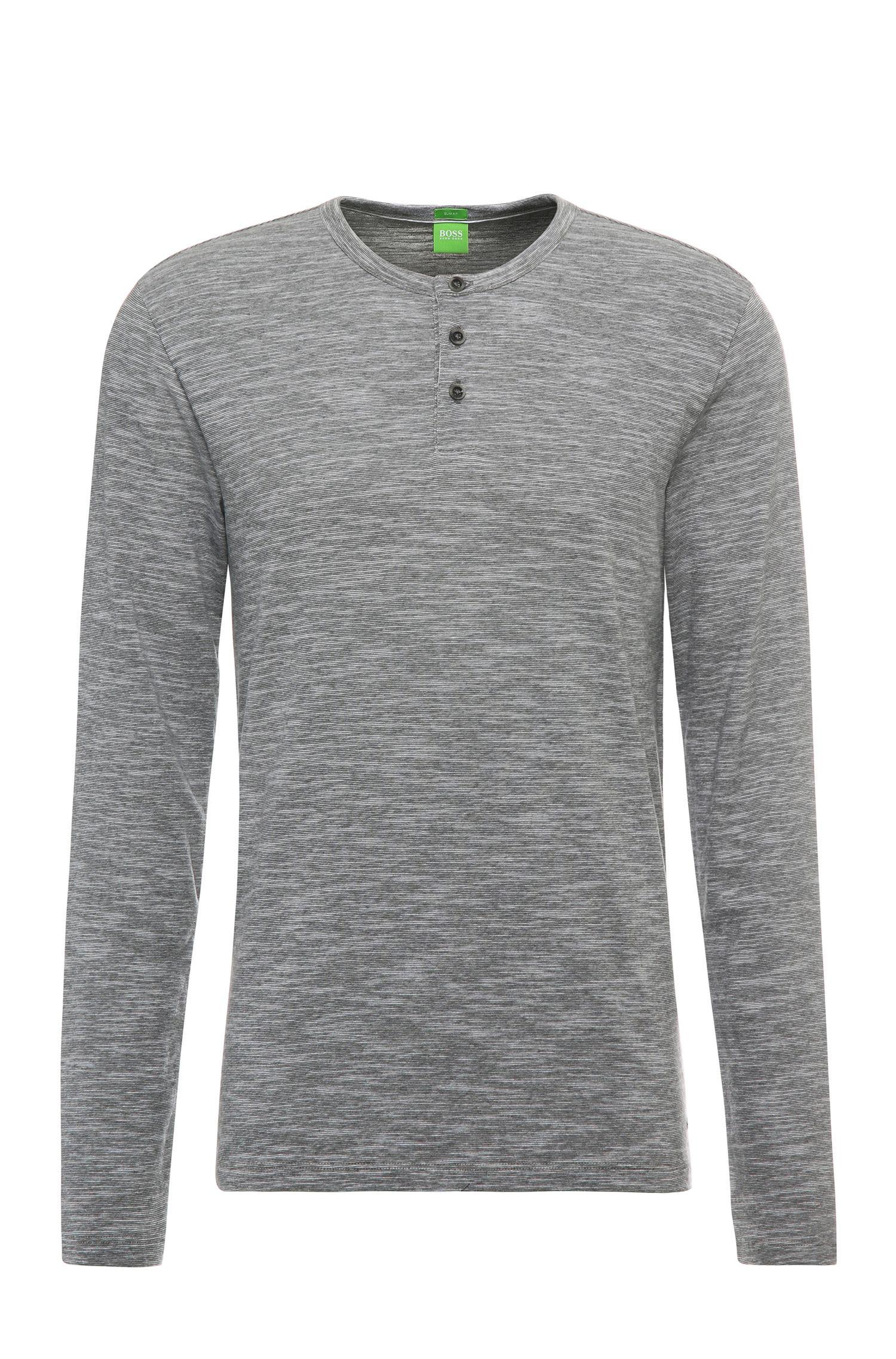 T-shirt à manches longues Slim Fit chiné en coton mélangé: «C-Veneto»