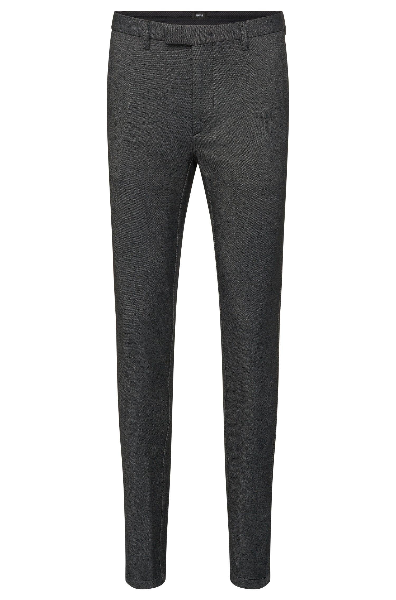 Mottled slim-fit trousers in cotton blend with zip details: 'Kaito3-6-W'