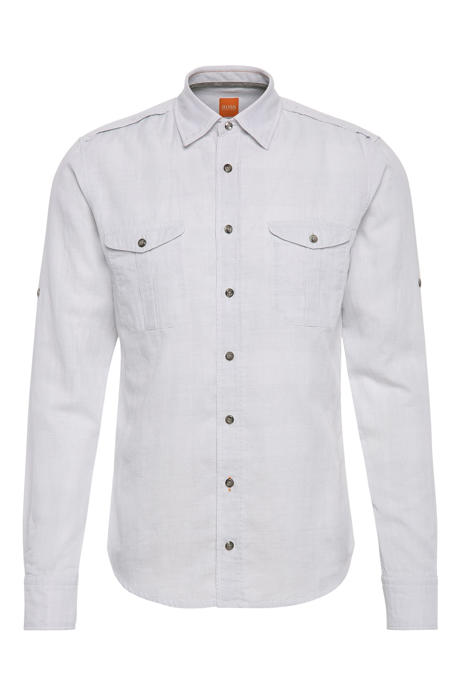 Slim-fit overhemd van gestructureerde katoen: 'CadettoE'