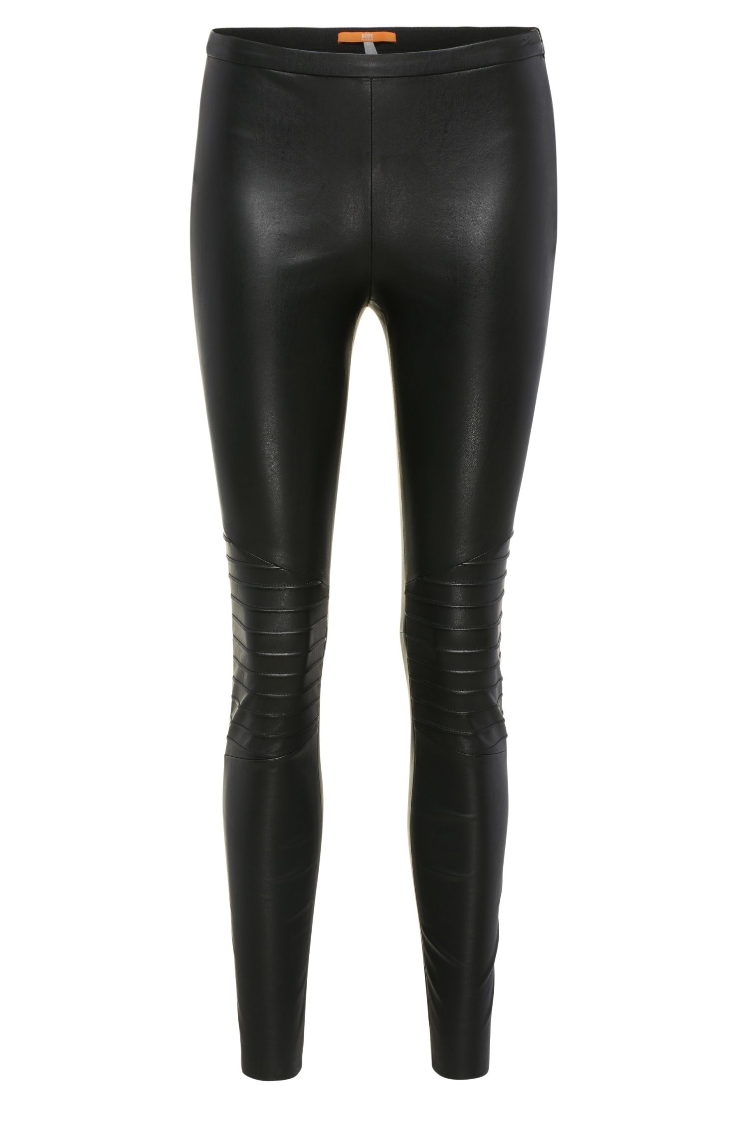 Skinny-fit broek in leerlook en bikerstijl: 'Saledy'