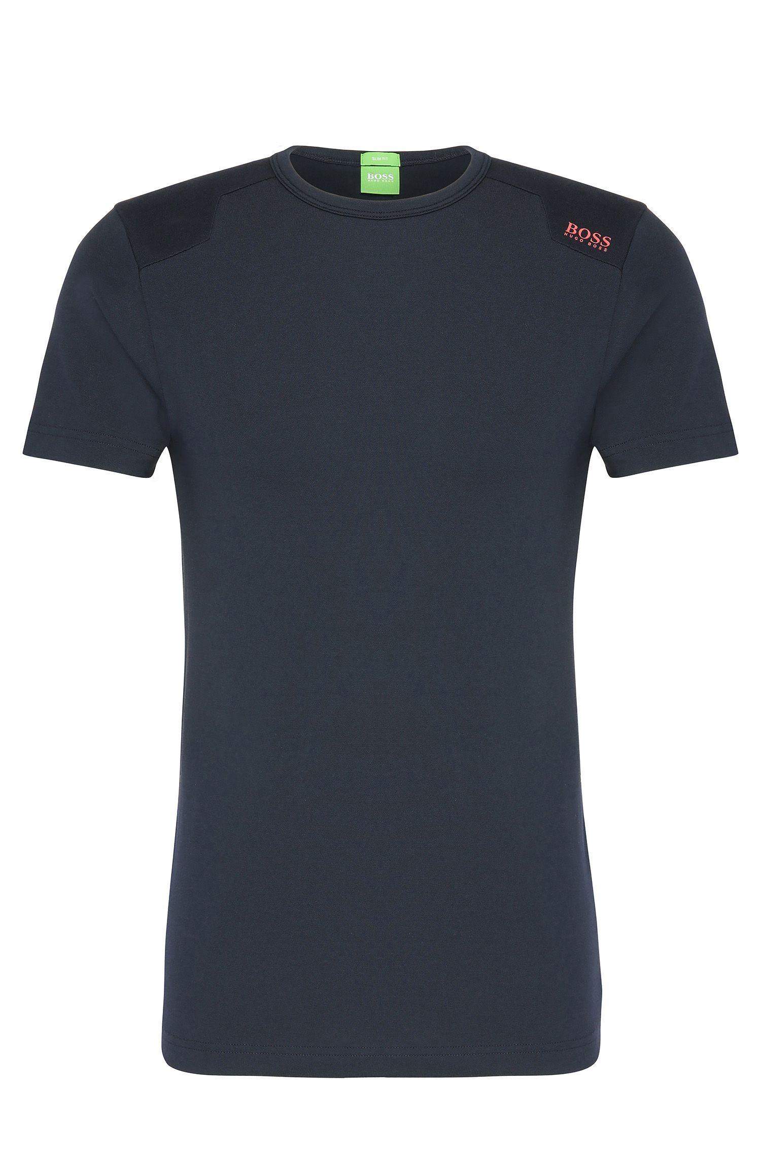 Slim-fit T-shirt van een elastische katoenmix met structuur: 'Teenox'