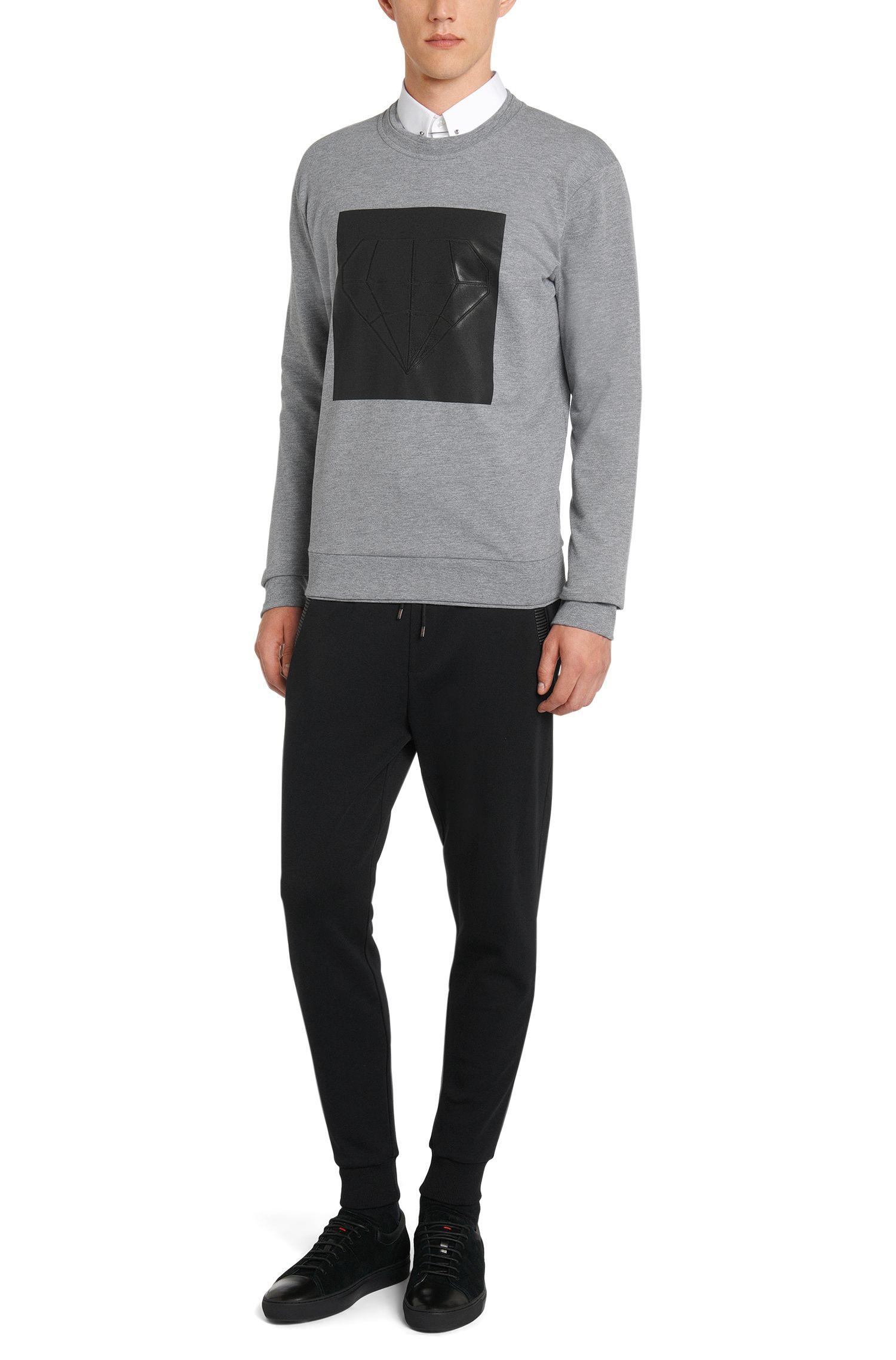 Regular-Fit Sweathose aus Baumwolle mit Details in Leder-Optik: 'Drontier'