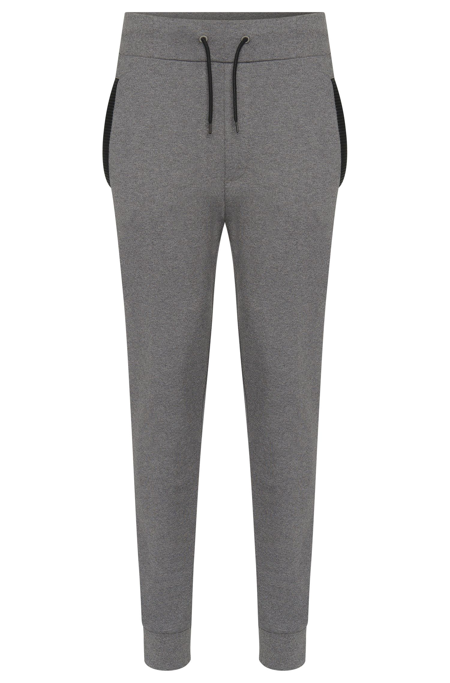 Regular-fit sweat trousers in cotton with details in leather effect: 'Drontier'