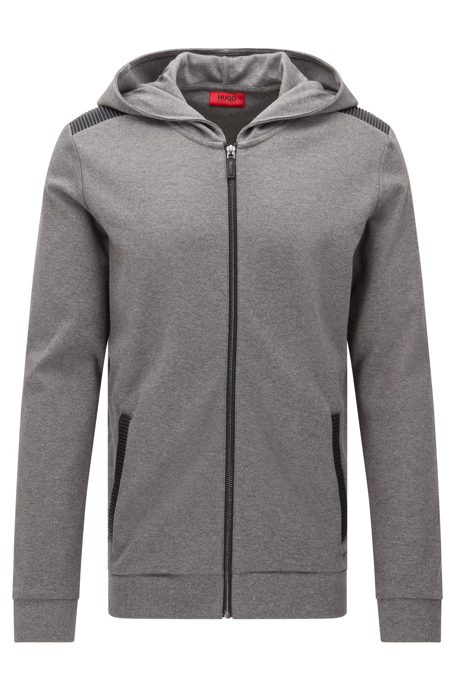 Sweatshirt-Jacke aus Baumwolle mit Details in Leder-Optik: 'Dellagio'