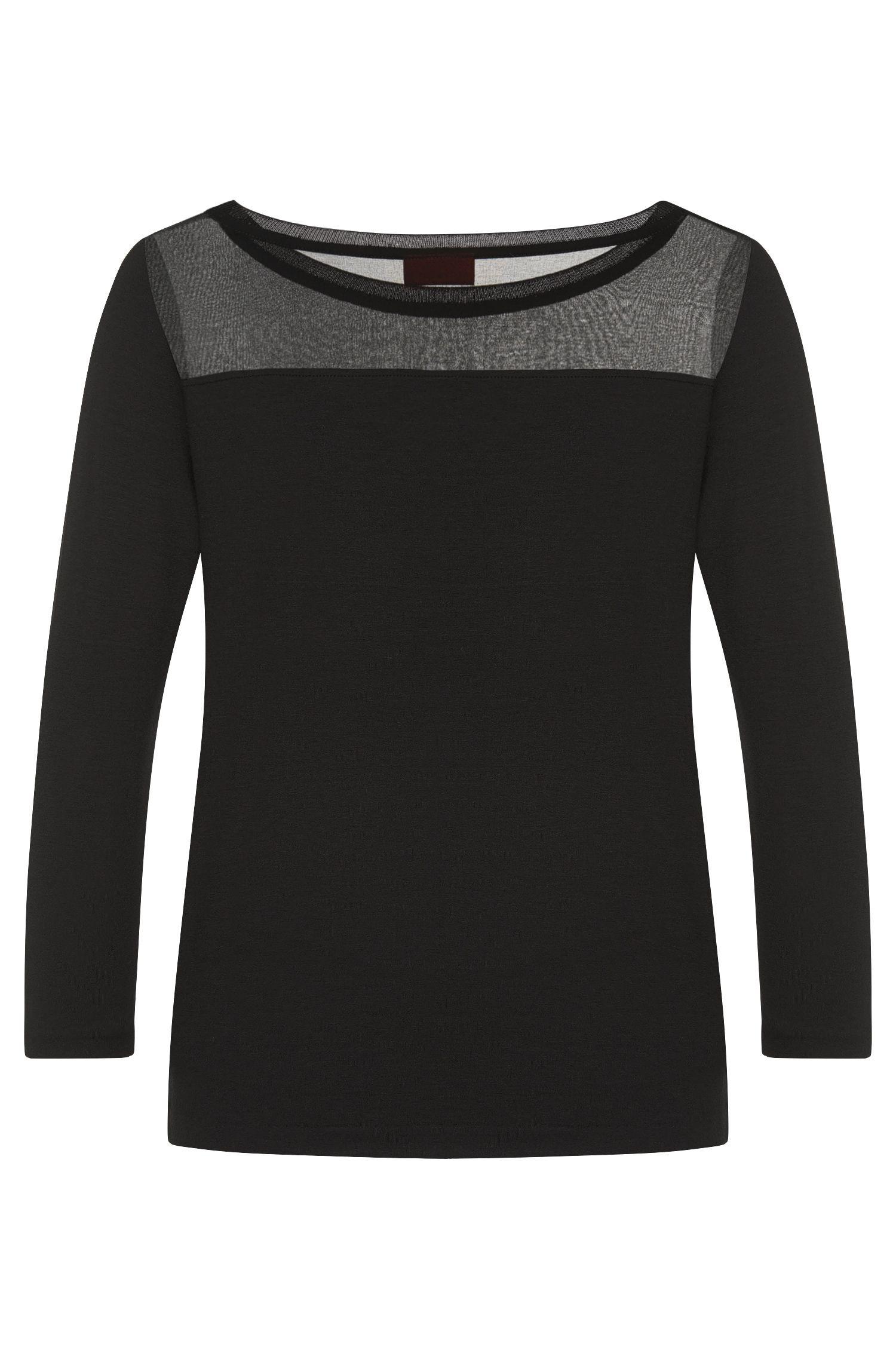 Shirt aus Stretch-Viskose mit feinem Perlen-Besatz: 'Difesta'