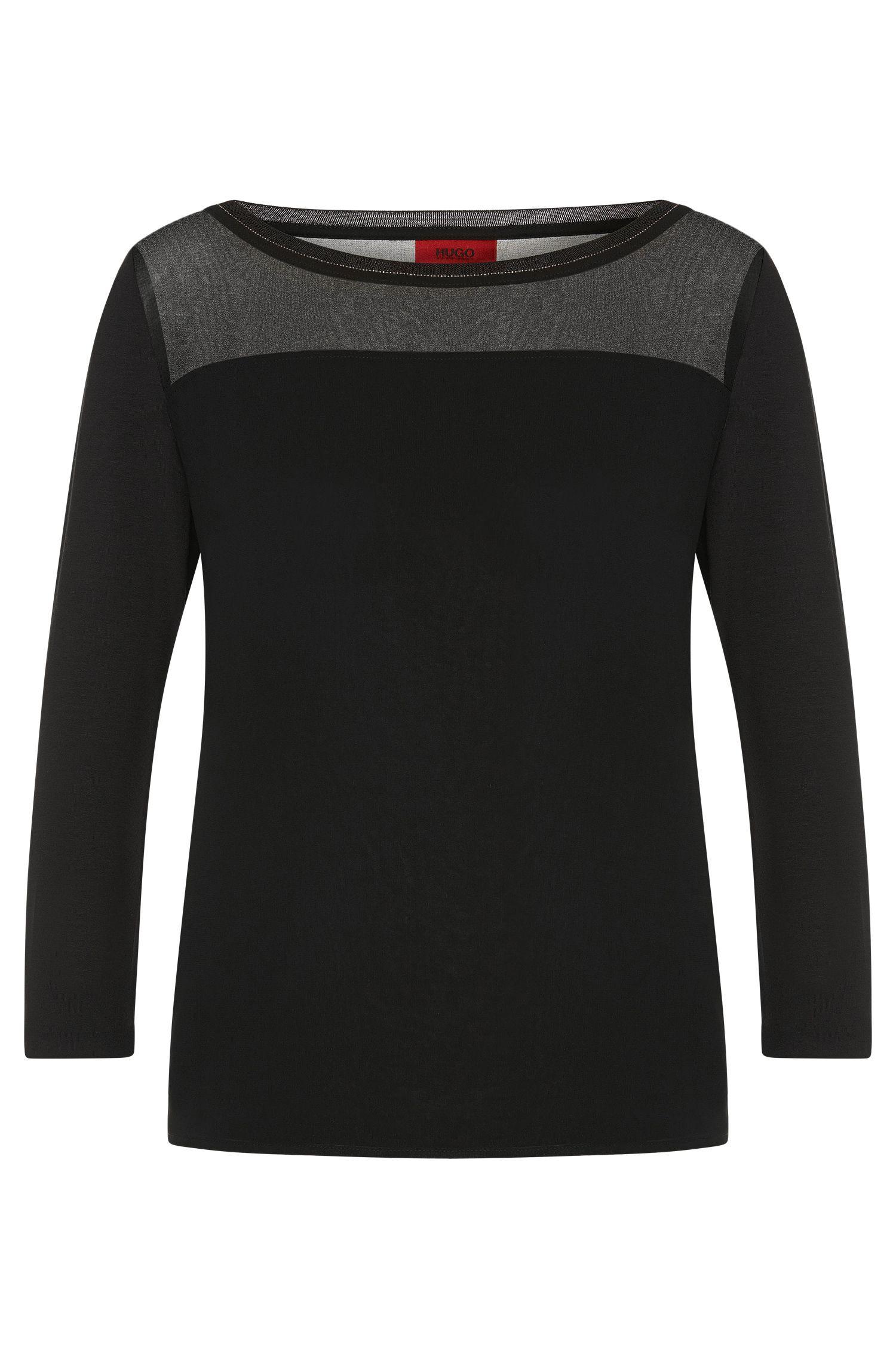 Shirt in stretch viscose with fine beaded trim: 'Difesta'
