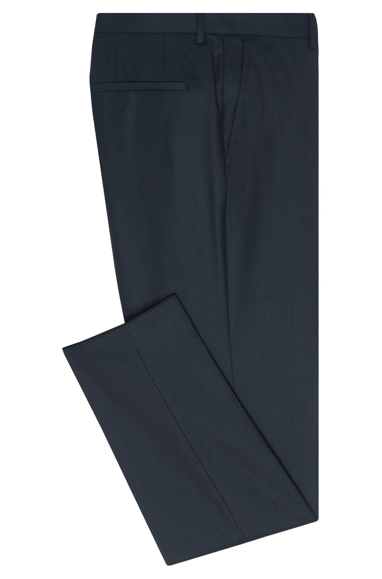 Slim-fit broek van zuivere scheerwol met dessin: 'Hets'