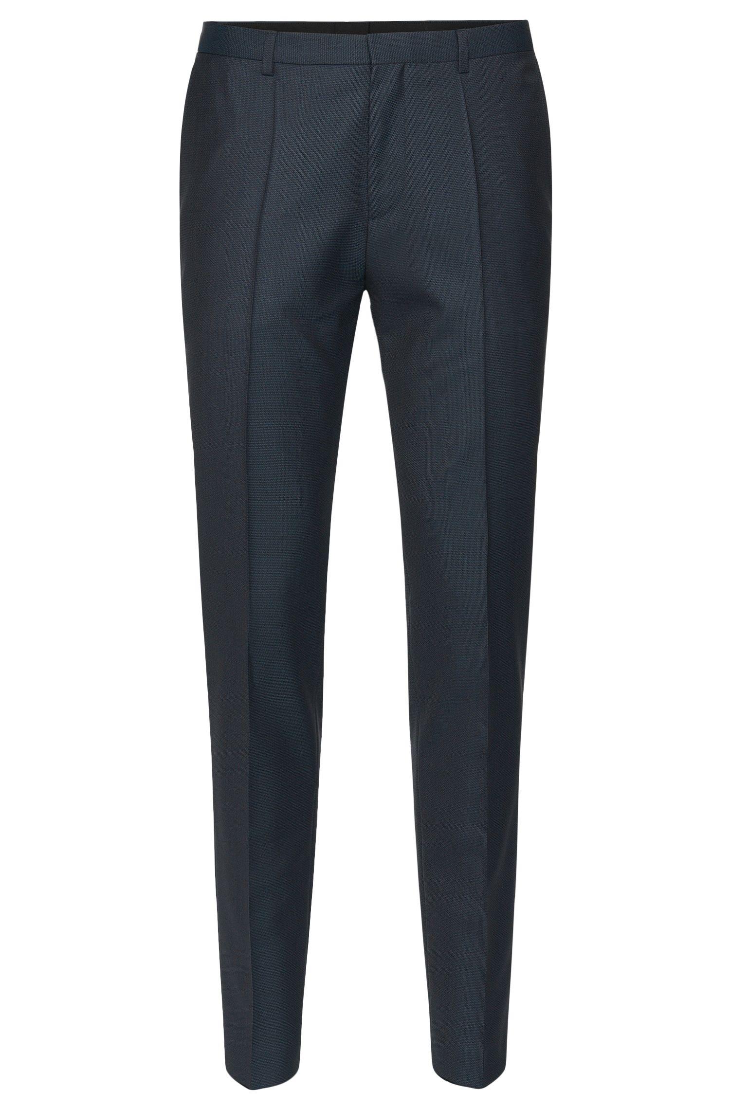 Pantalon Slim Fit à motif en pure laine vierge: «Hets»