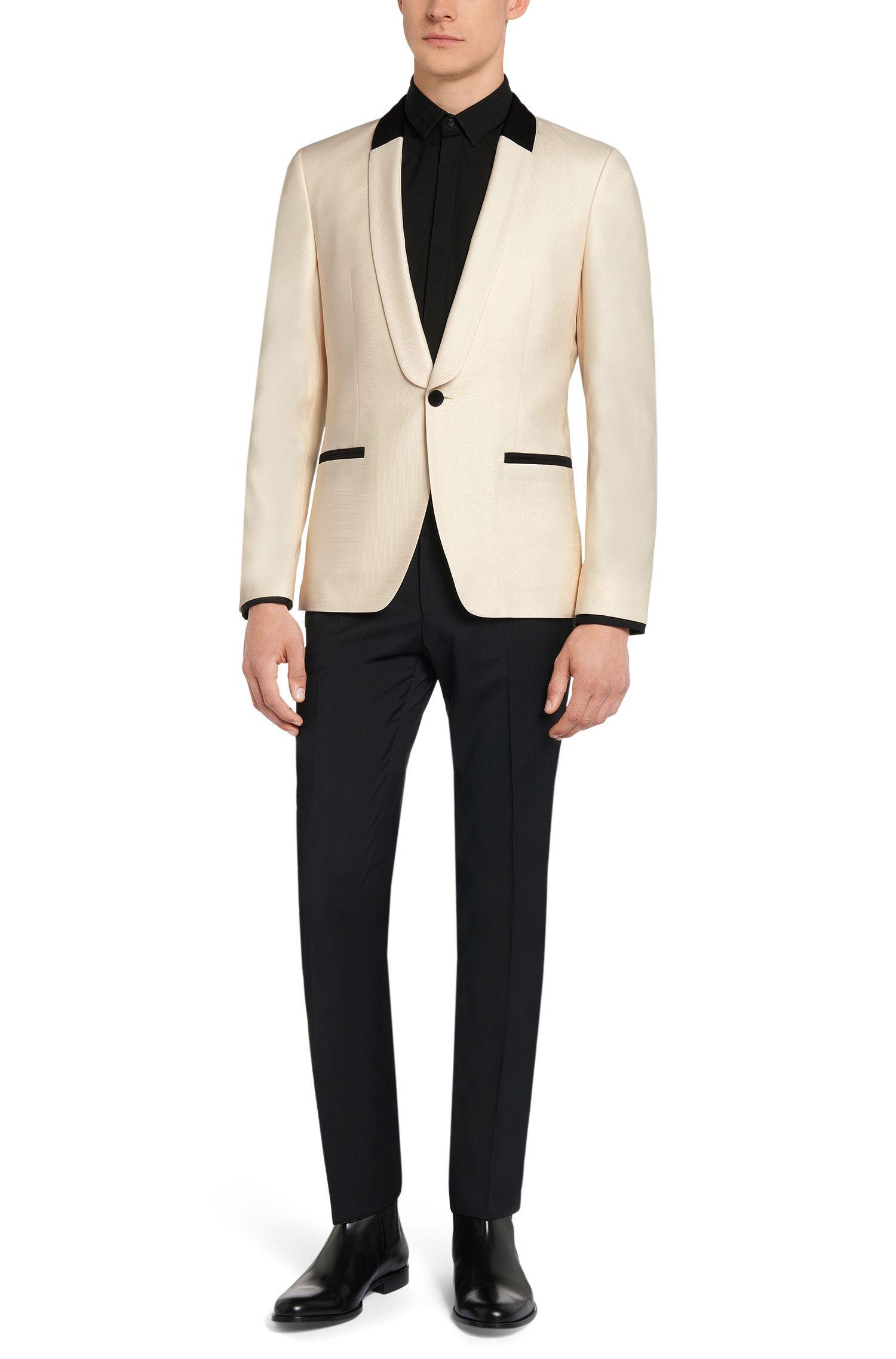 Slim-fit smokingjasje van een scheerwolmix met zijde: 'Arian'