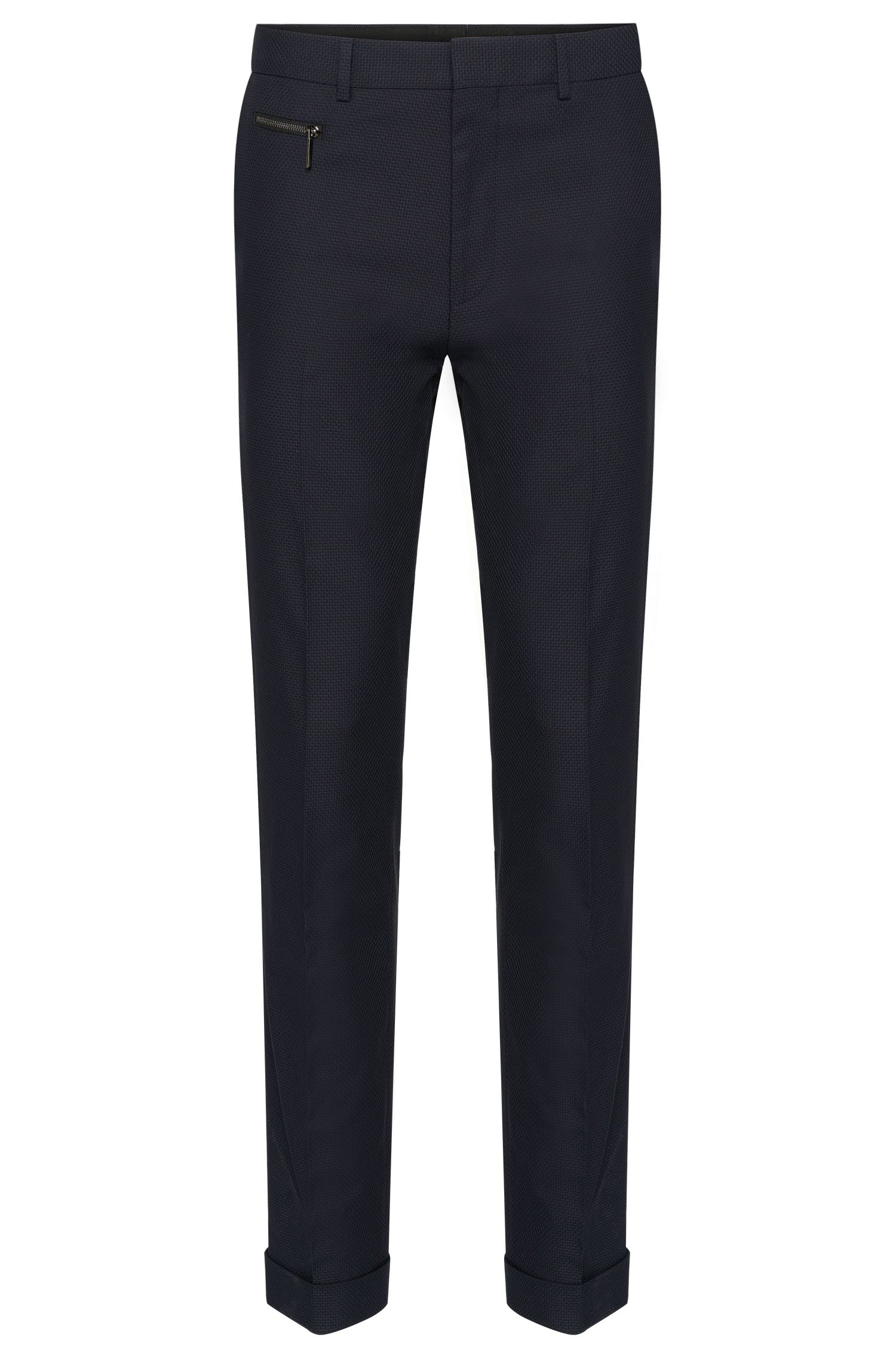 Pantalon Slim Fit en coton stretch orné d'un fin motif : « Hizon »