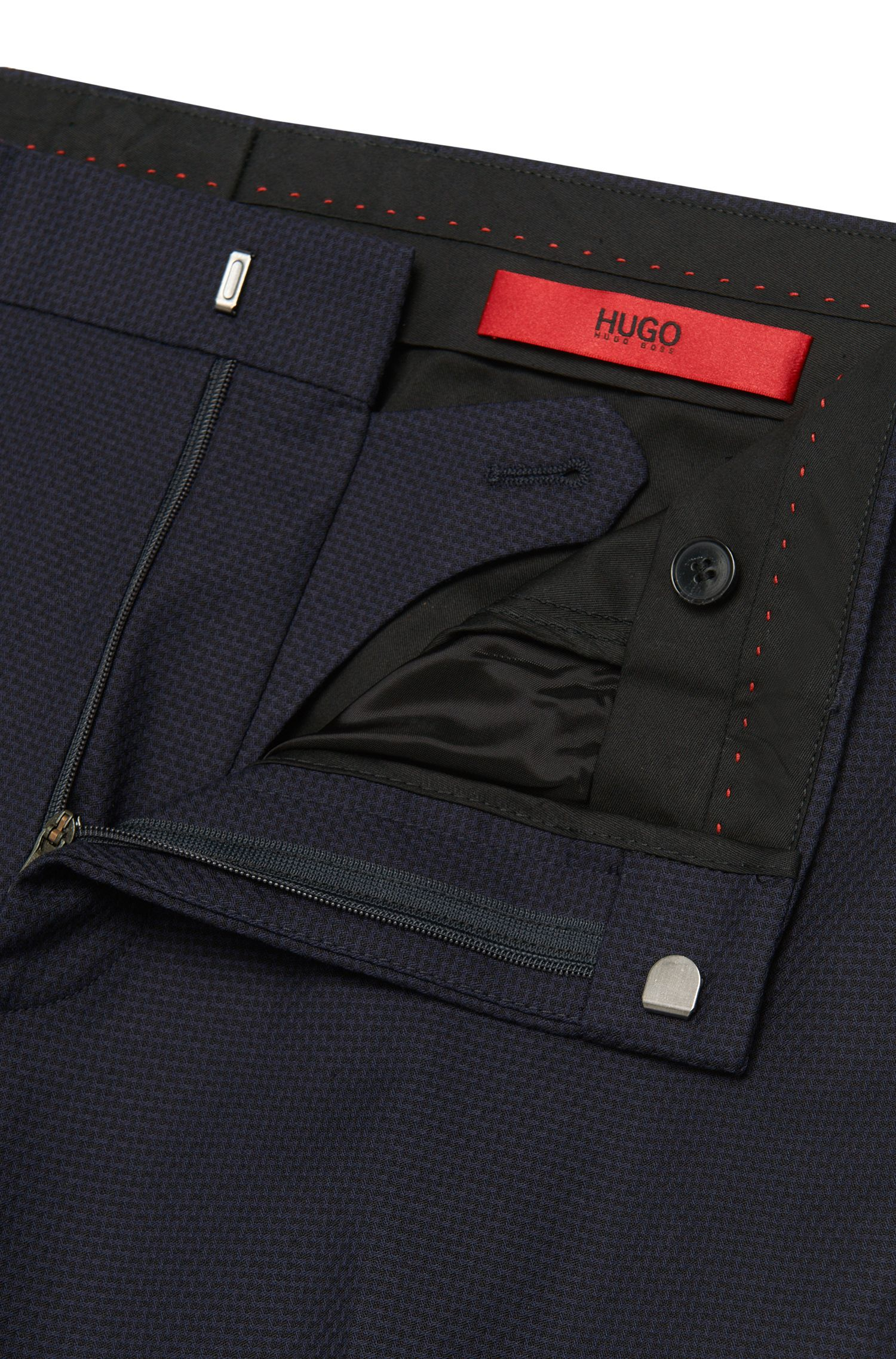 Slim-Fit Hose aus Stretch-Baumwolle mit feinem Muster: 'Hizon'
