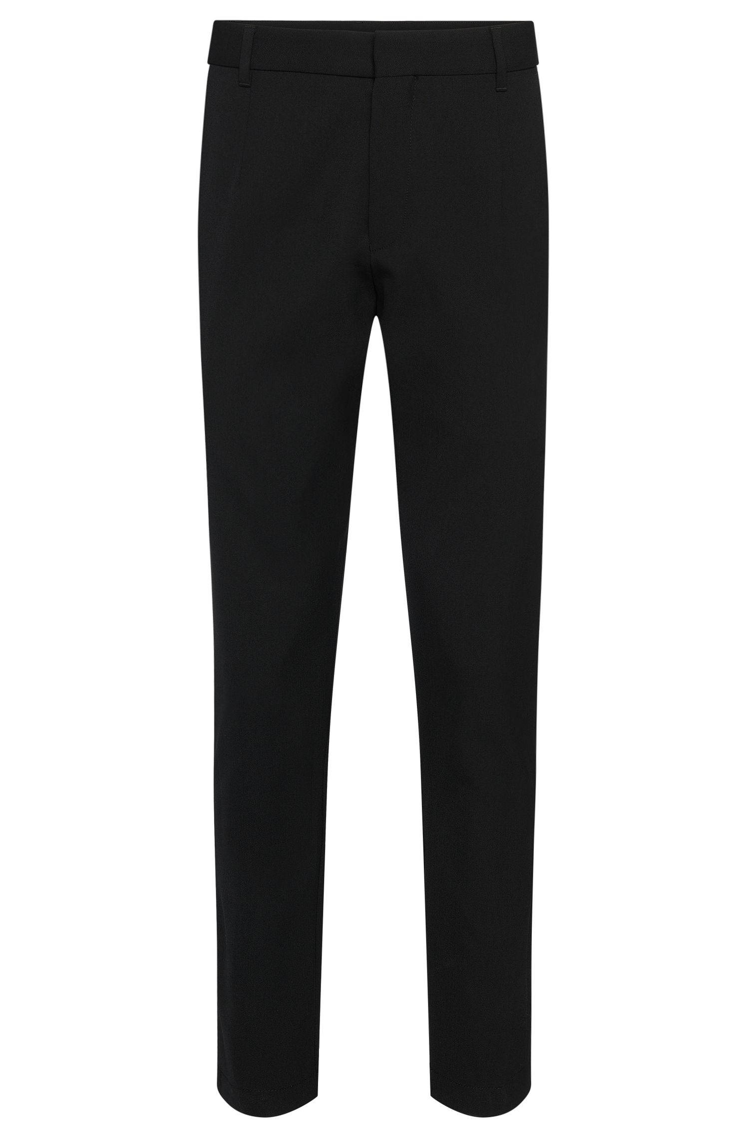 Plain relaxed-fit trousers in stretchy new-wool blend: 'Hewart'