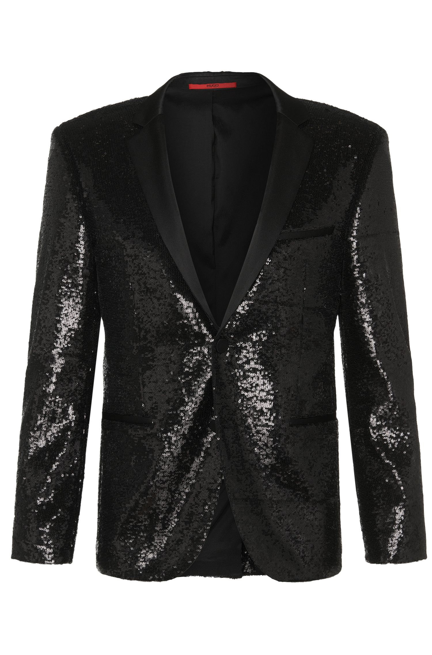 Extra slim-fit jacket in stretch viscose with sequins: 'Adris_Sequins'