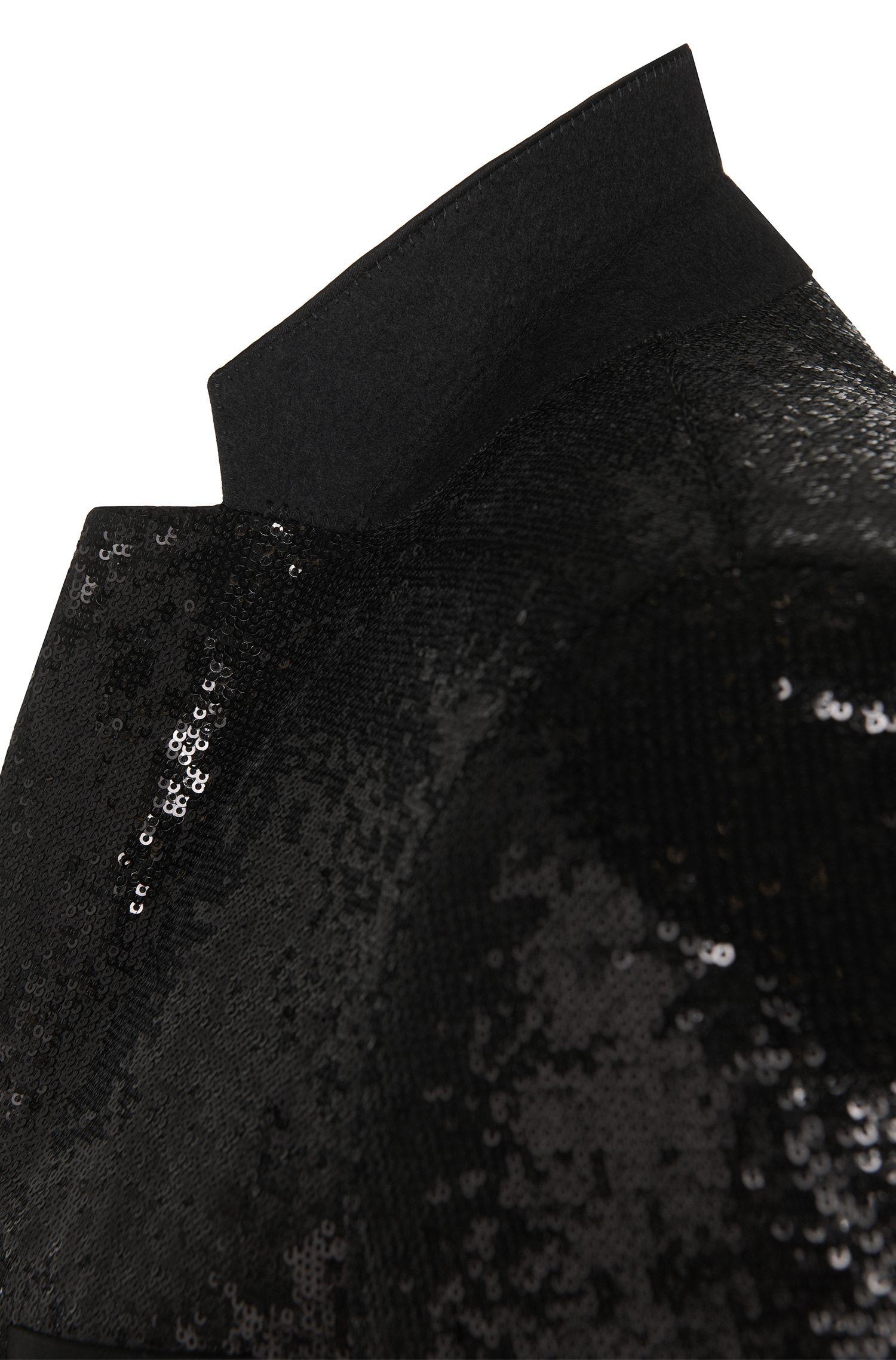 Extra Slim-Fit Sakko aus Stretch-Viskose mit Pailletten: 'Adris_Sequins'