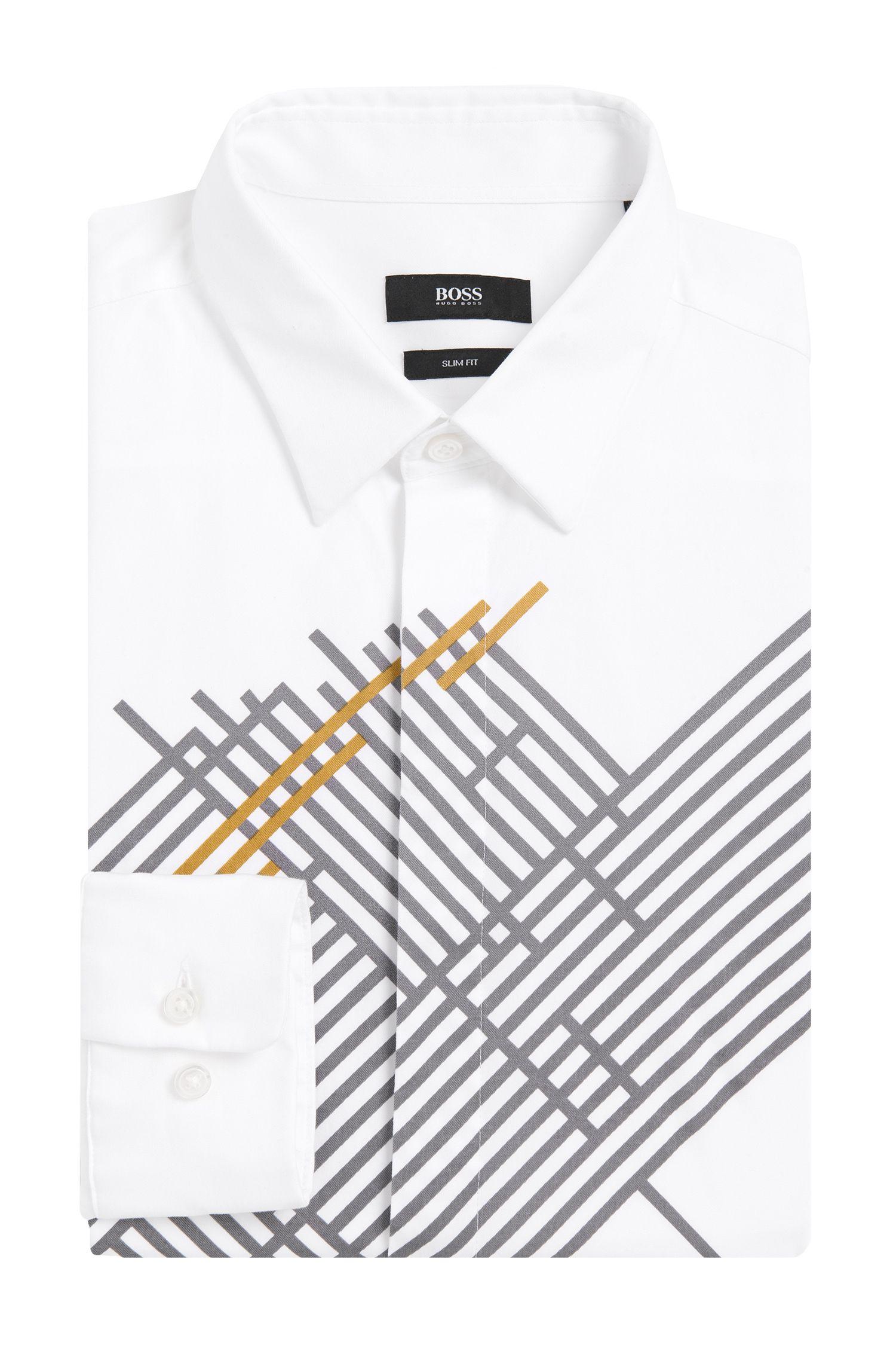 Slim-Fit Hemd aus Baumwolle mit Print: 'Reid_H'