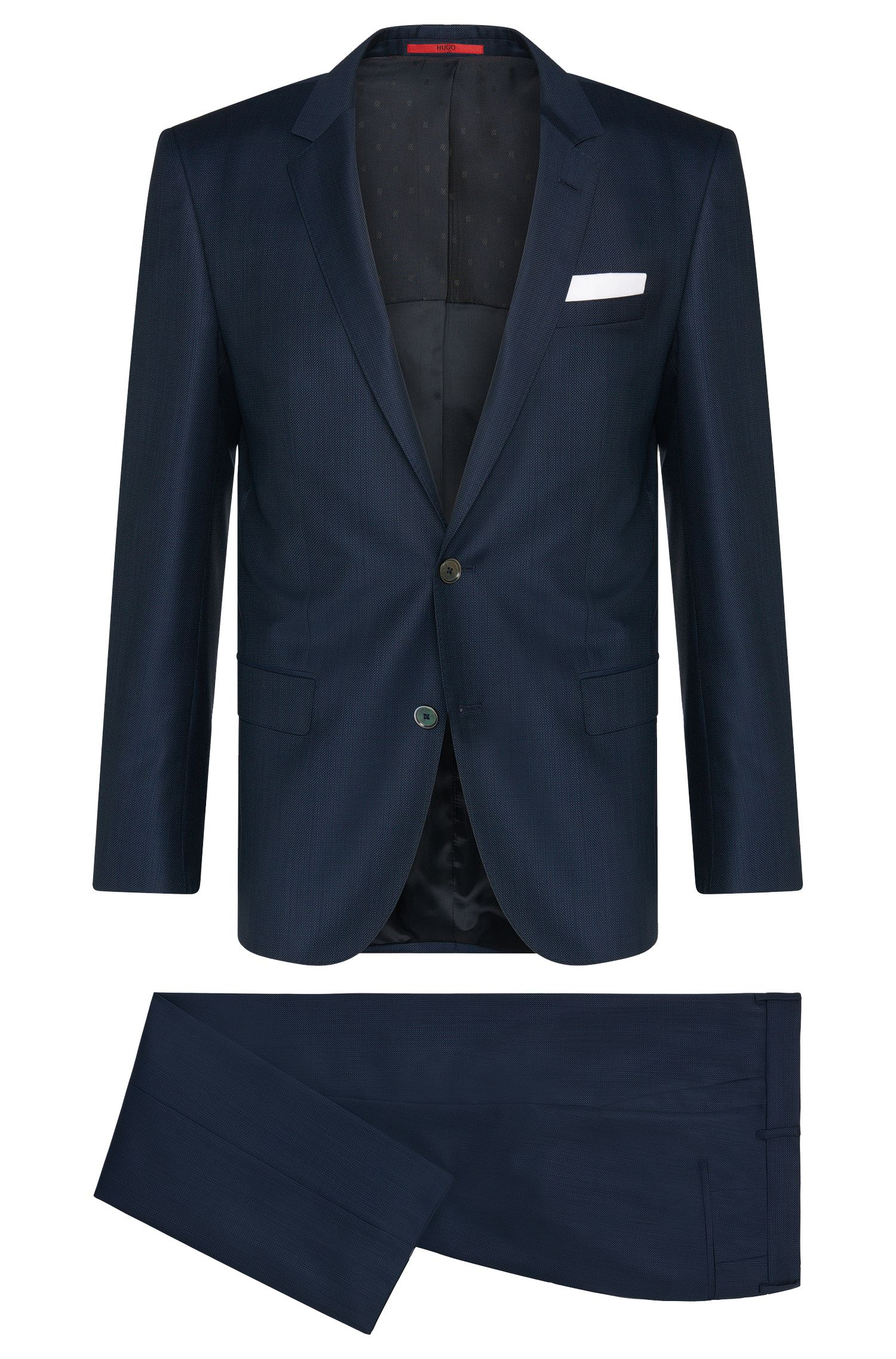 Finely textured slim-fit suit in new-wool blend: 'C-Hutson1/C-Gander'