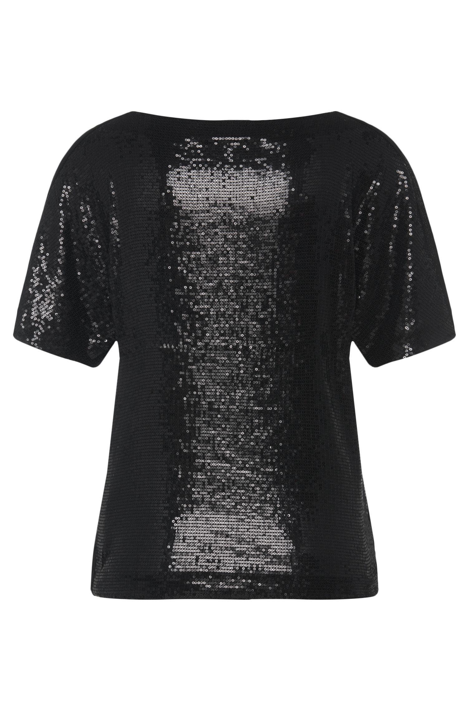 T-shirt van stretchviscose met paillettenbeleg: 'Nitas'
