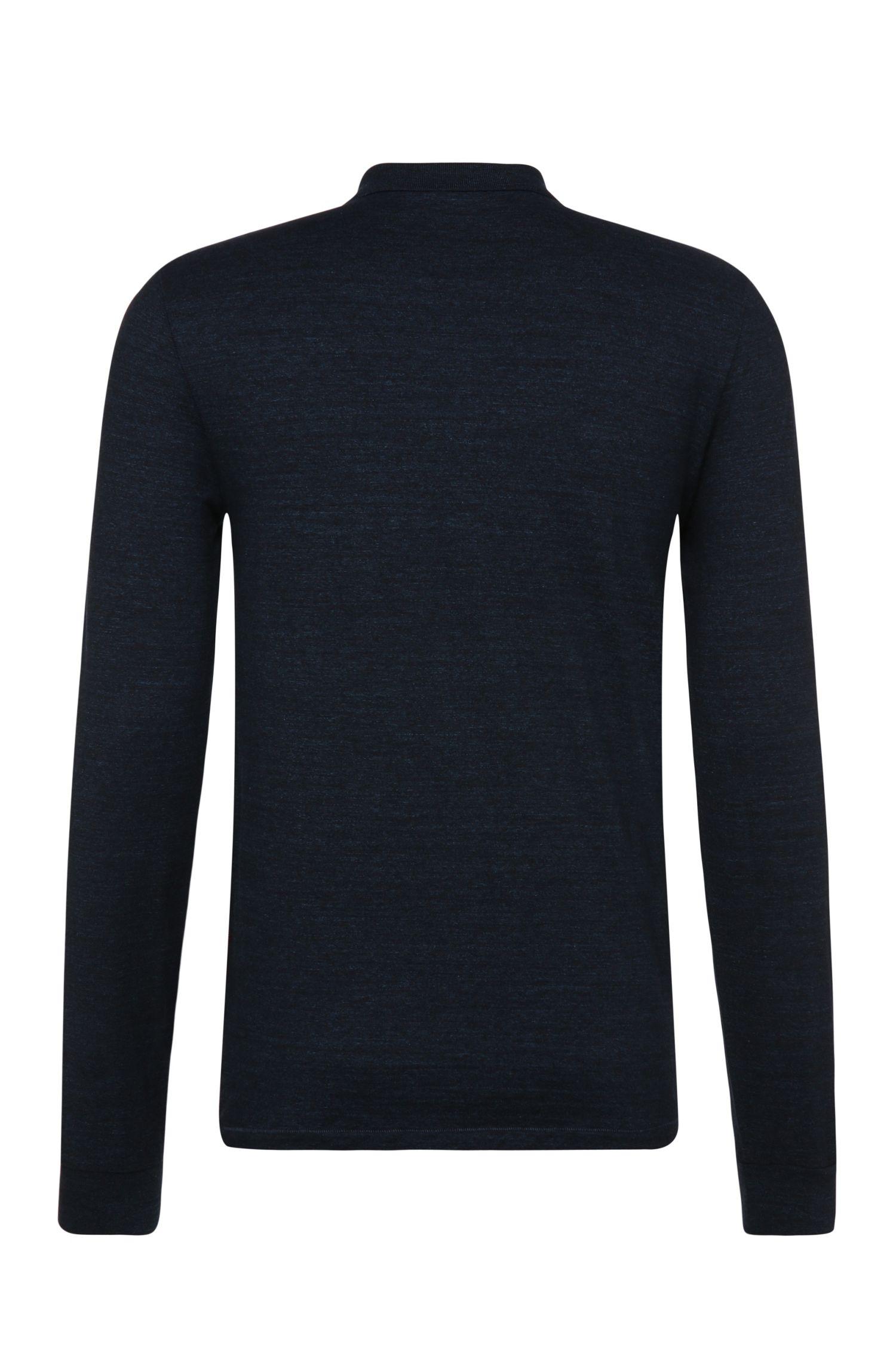 Polo à manches longues Regular Fit, en coton teint: «Patcherman 2»