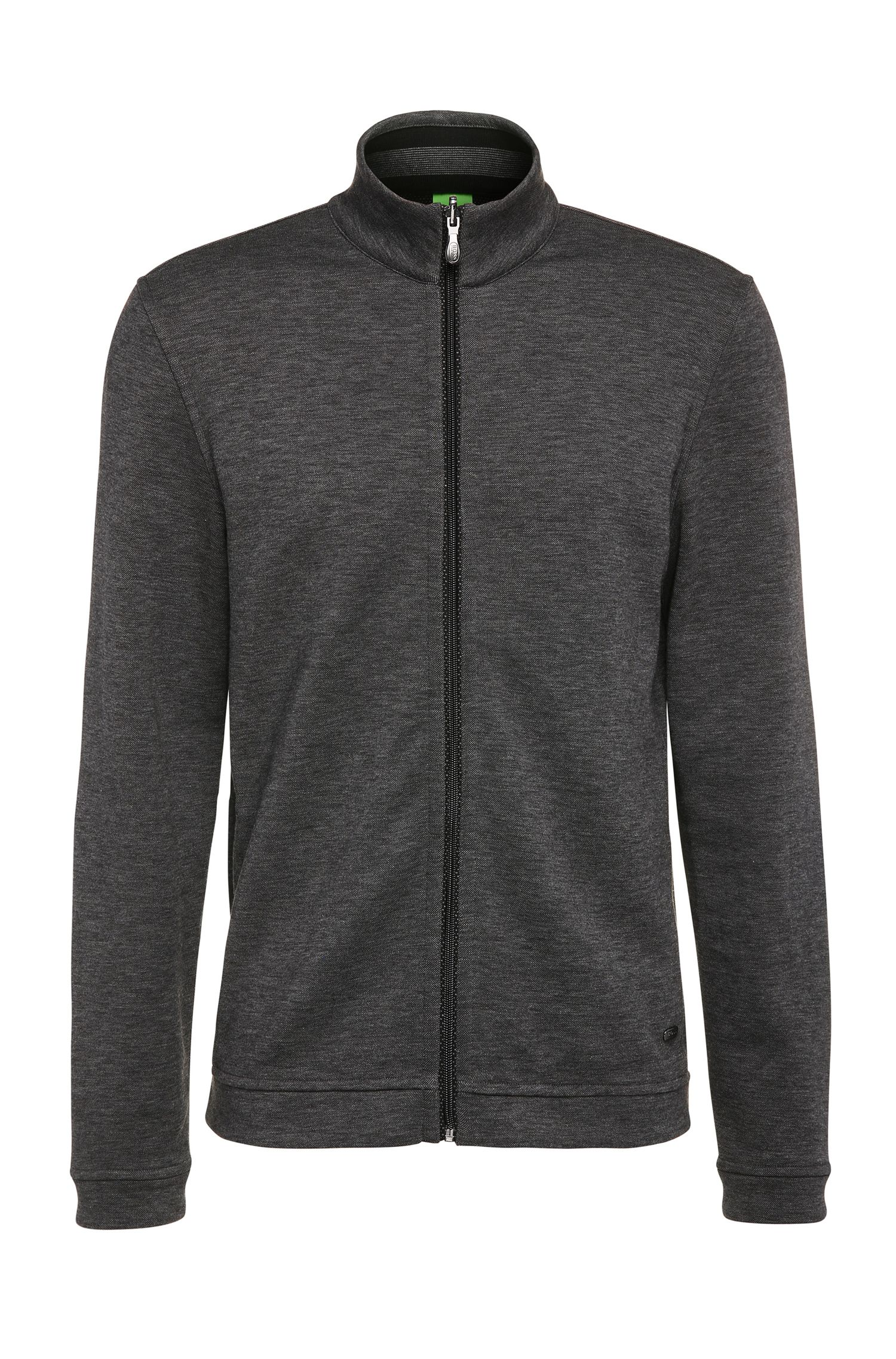 Regular-Fit Sweatshirt-Jacke aus meliertem Baumwoll-Mix: ´C-Fossa`