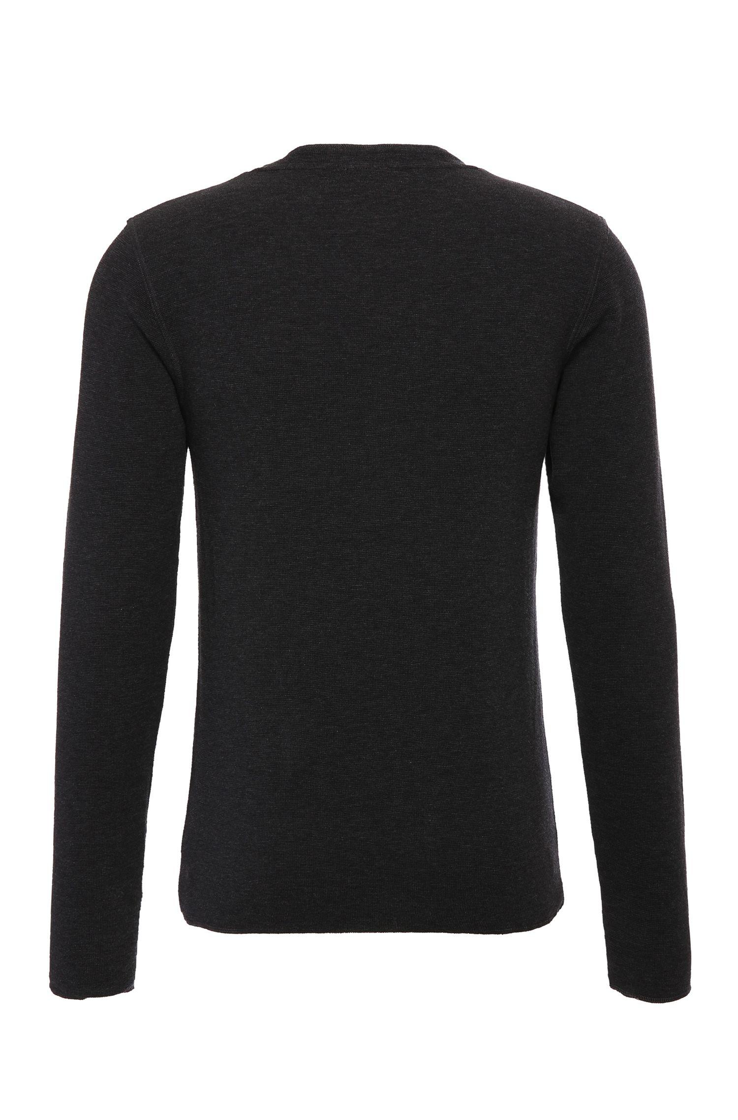 T-shirt Henley Slim Fit en coton légèrement chiné: «Topsider 1»