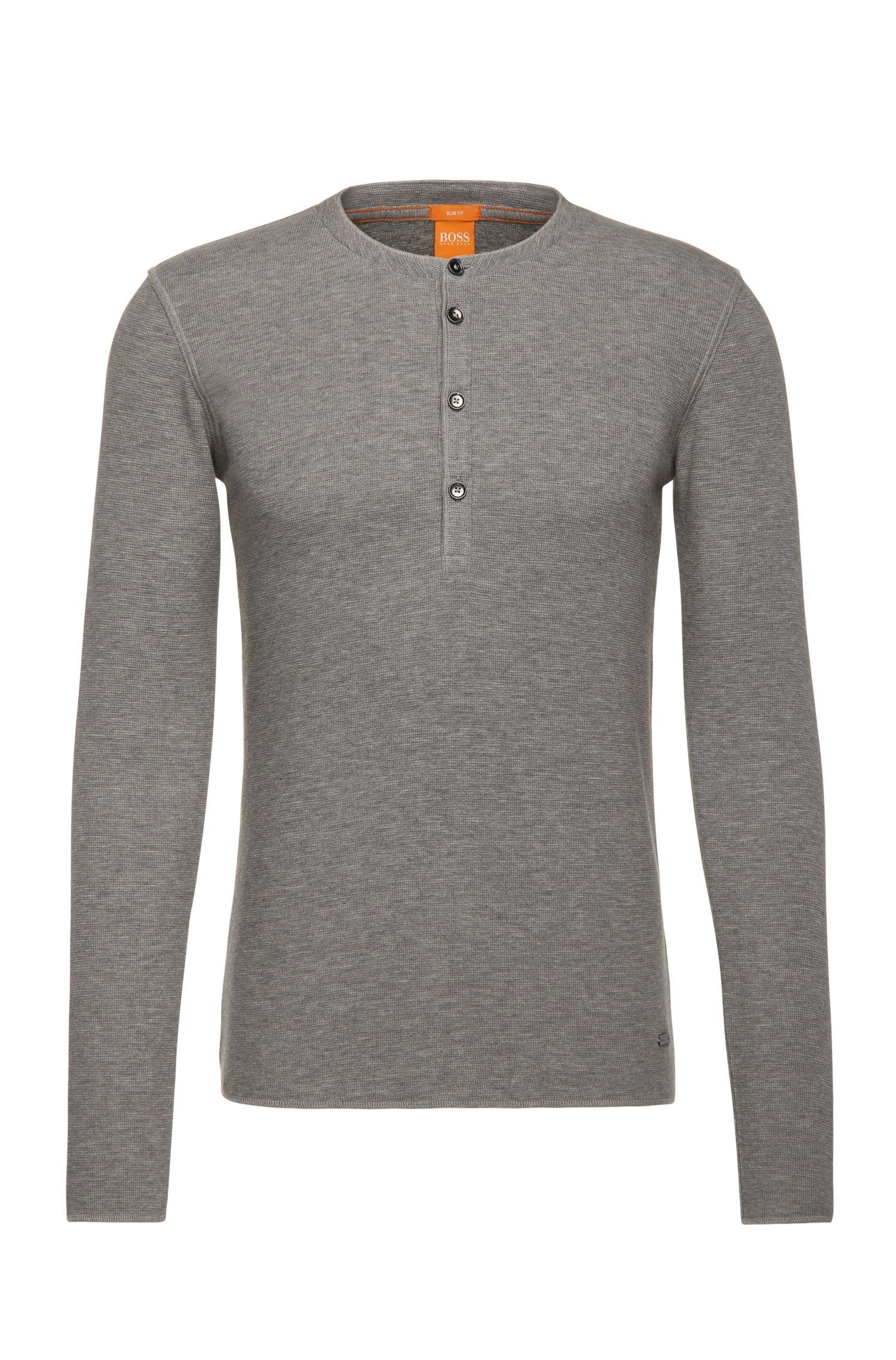 T-shirt in stile Henley slim fit in jersey di cotone singolo