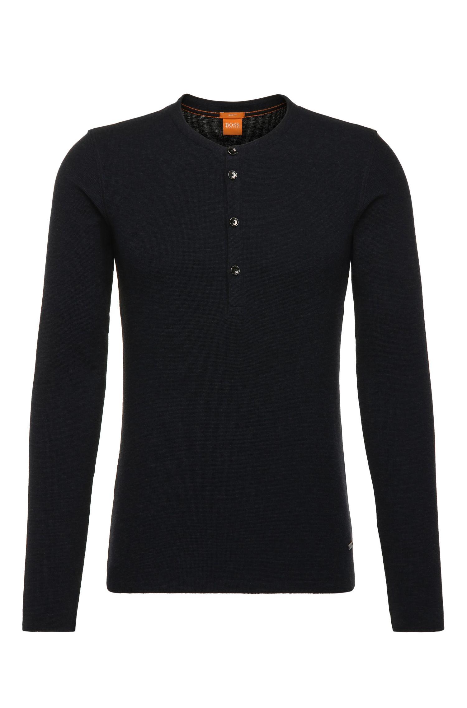 Slim-fit henleyshirt van zachte single jersey van katoen