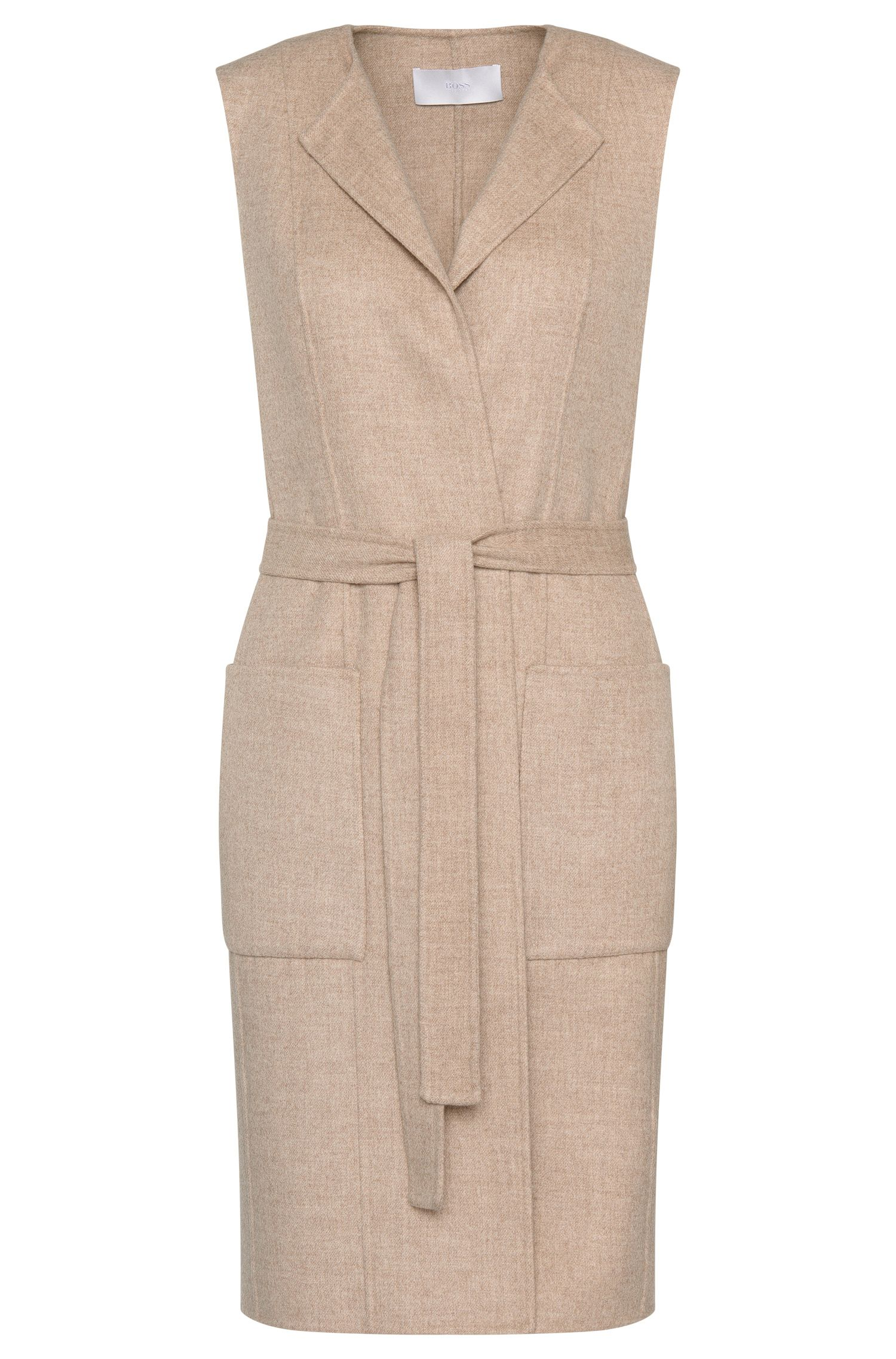 Long waistcoat in wool blend with wrap belt: 'Katsyna'