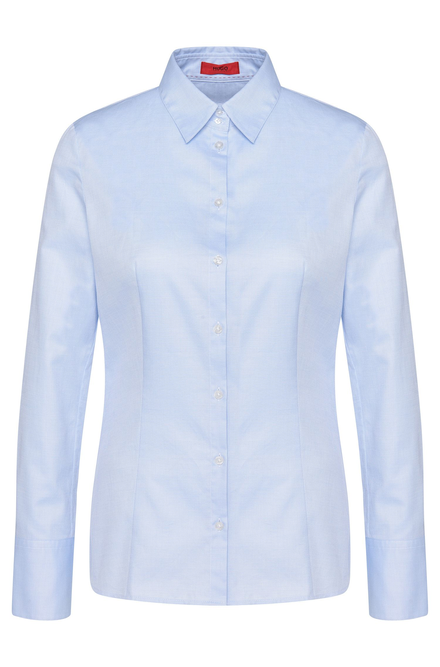 Slightly fitted shirt-style blouse in pure cotton: 'Etrixe1'