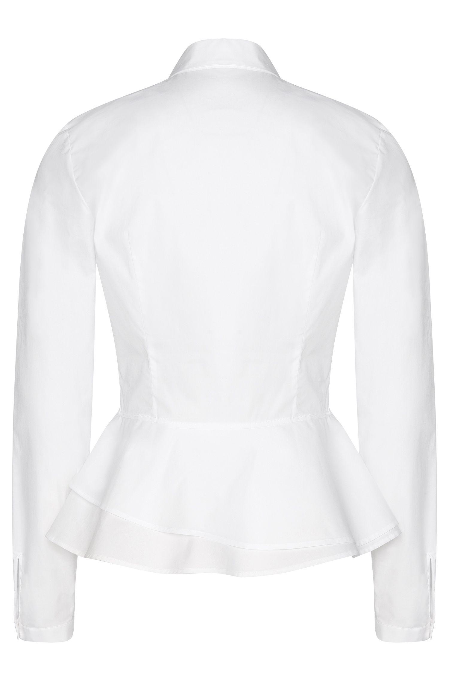 Hemdbluse aus Stretch-Baumwolle mit Schößchen-Detail: 'Esil'