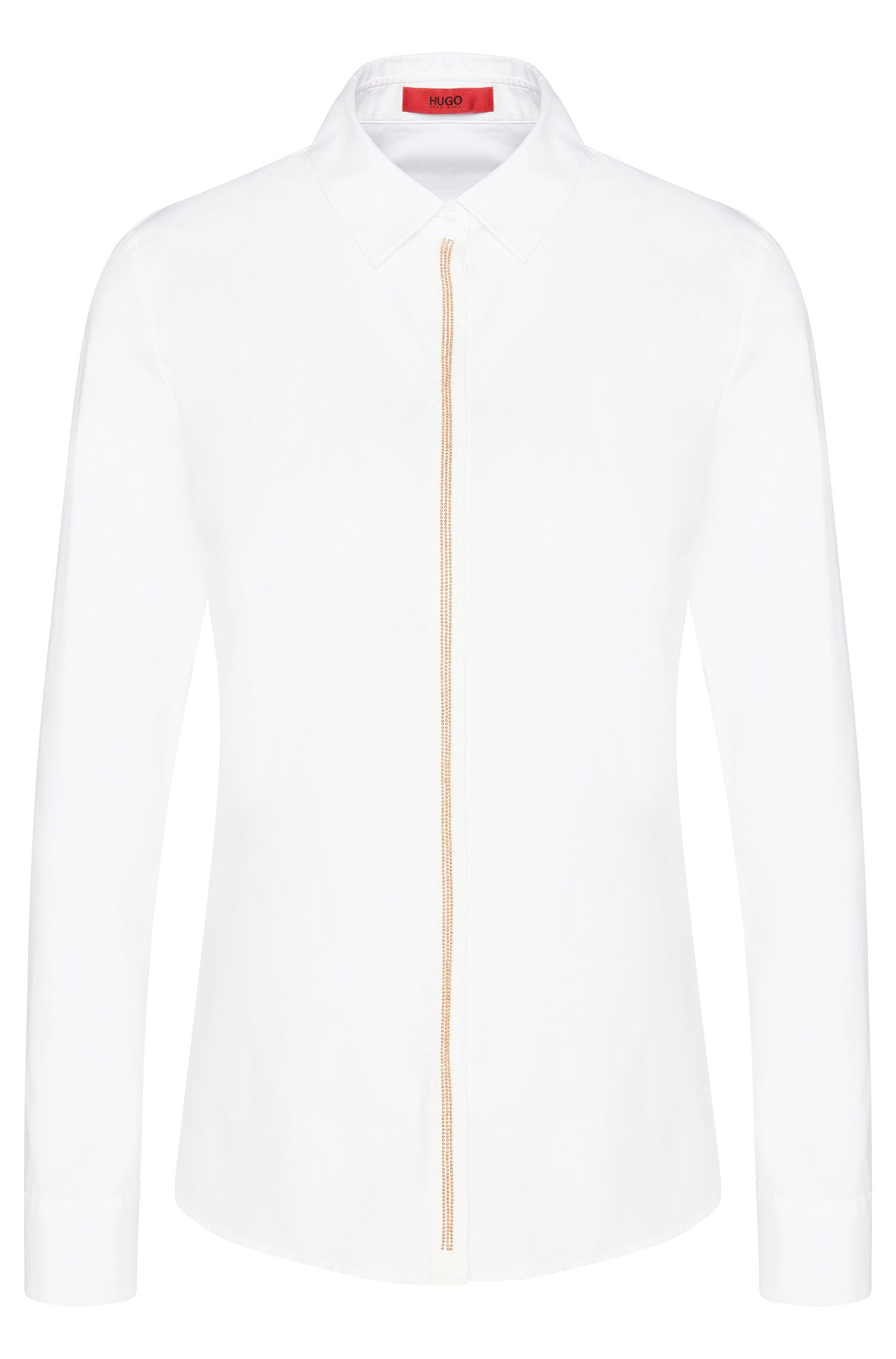 Shirt-style blouse in stretch cotton with decorated button placket: 'Edyella'