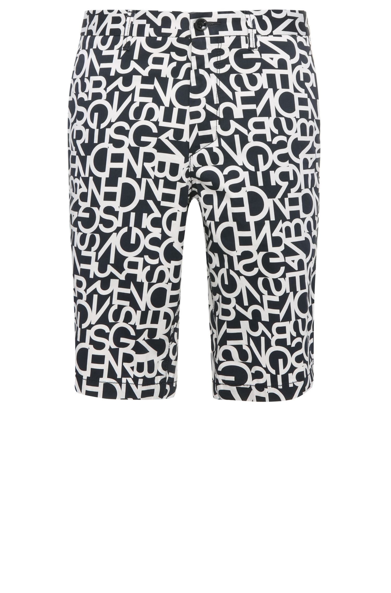 Slim-fit Bermuda shorts in stretch cotton with a letter pattern: 'Liem3-1-W'