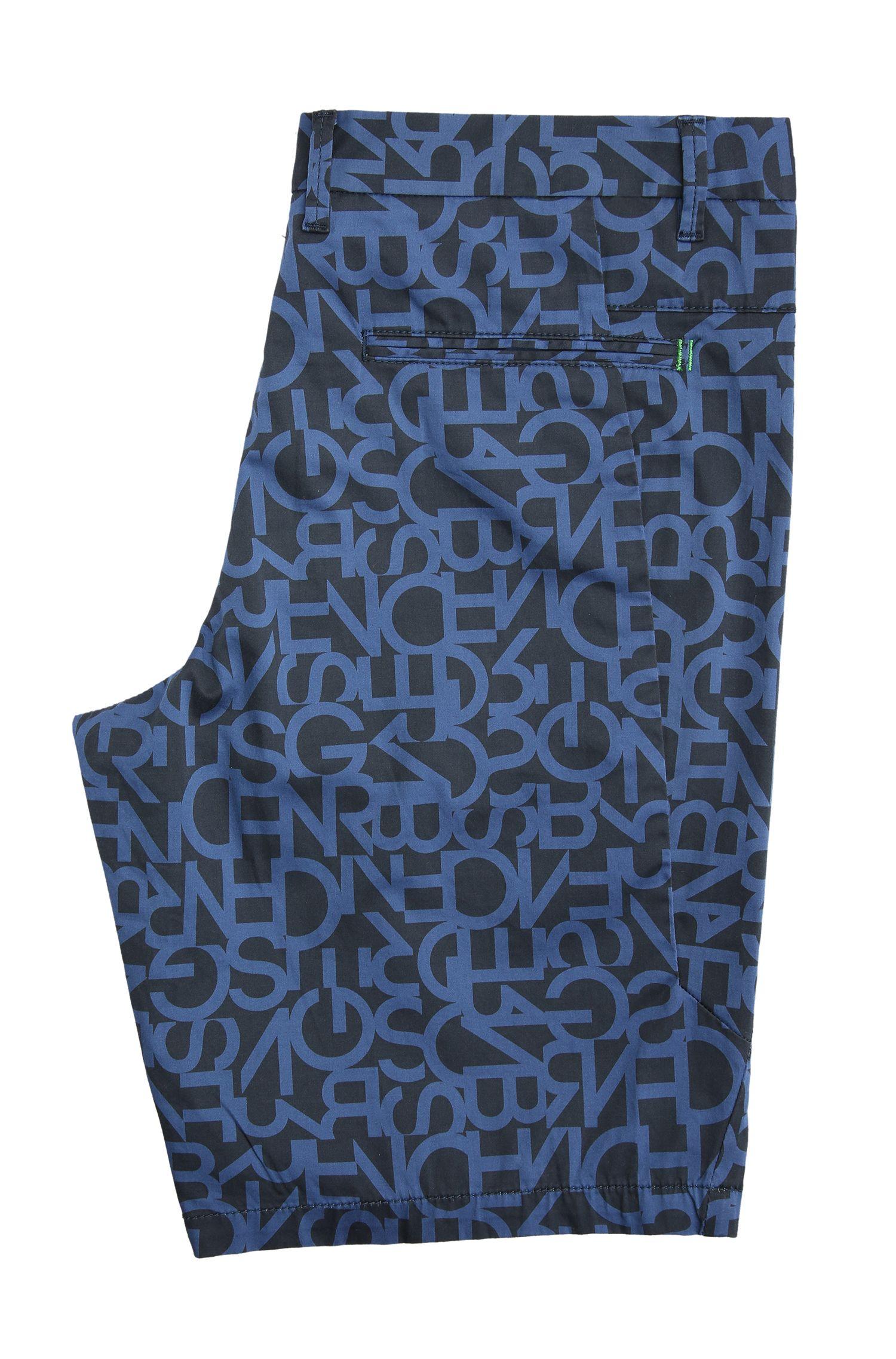 Slim-Fit Bermuda aus elastischer Baumwolle mit Buchstaben-Muster: ´Liem3-1-W`