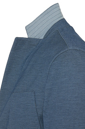 Sakko aus elastischer Baumwolle mit aufgesetzten Taschen: 'Narvik2-W', Türkis
