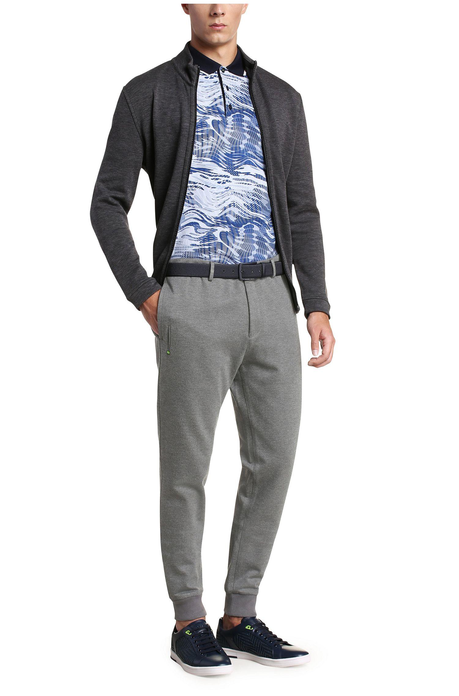 Pantalon Slim Fit en jersey chiné de viscose mélangée extensible: «Lukes7-W»