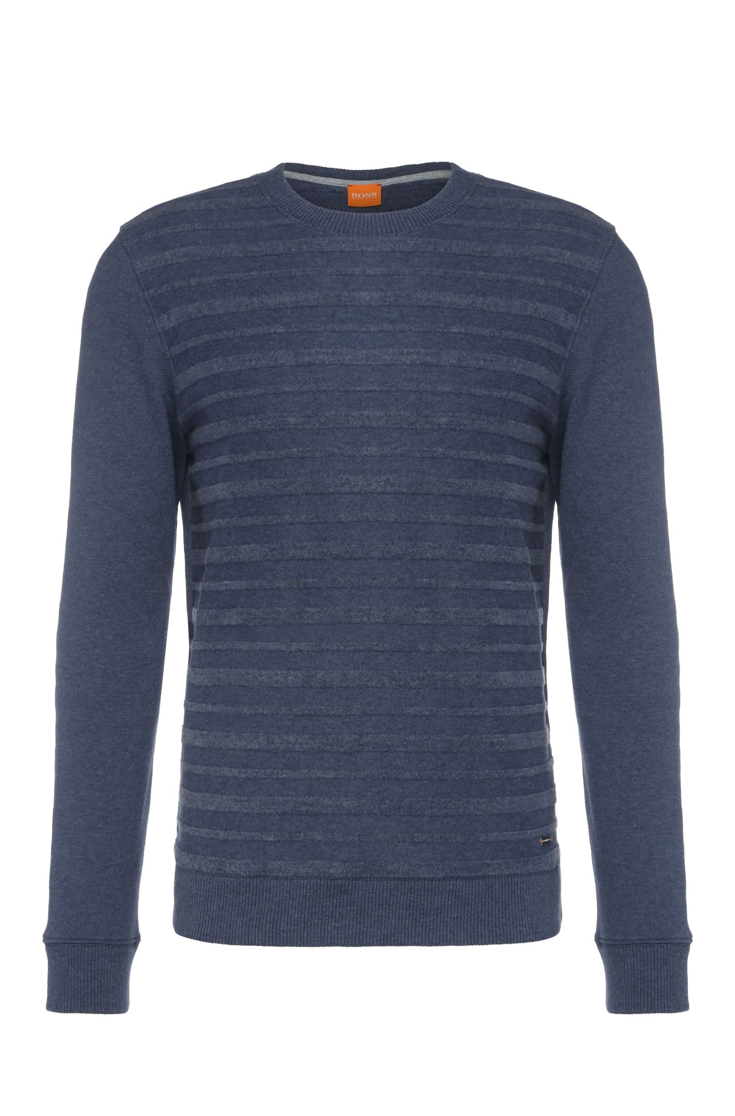 Gestreepte regular-fit sweater van een katoenmix: 'Wertigo'